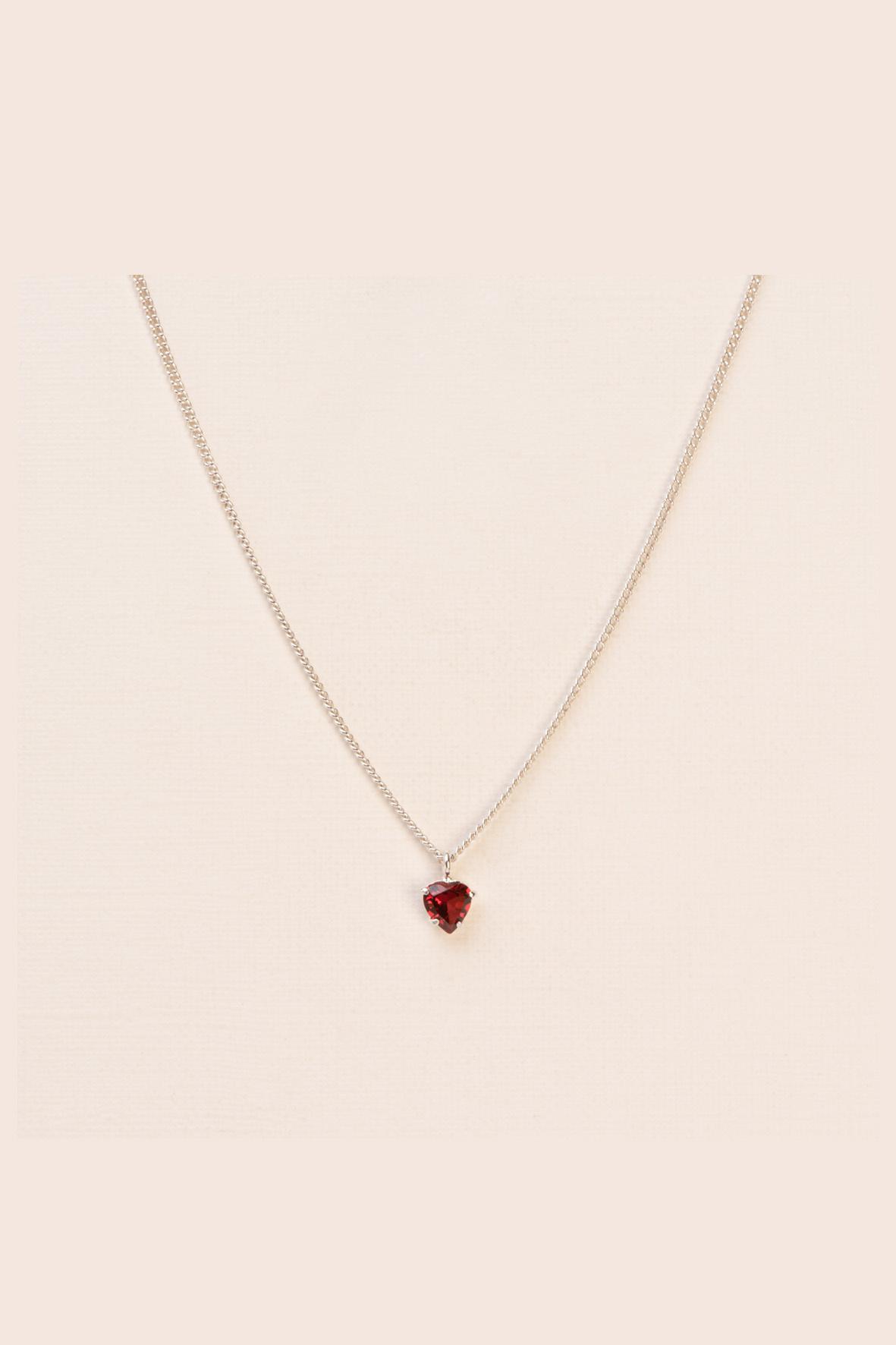 Heart garnet necklace silver