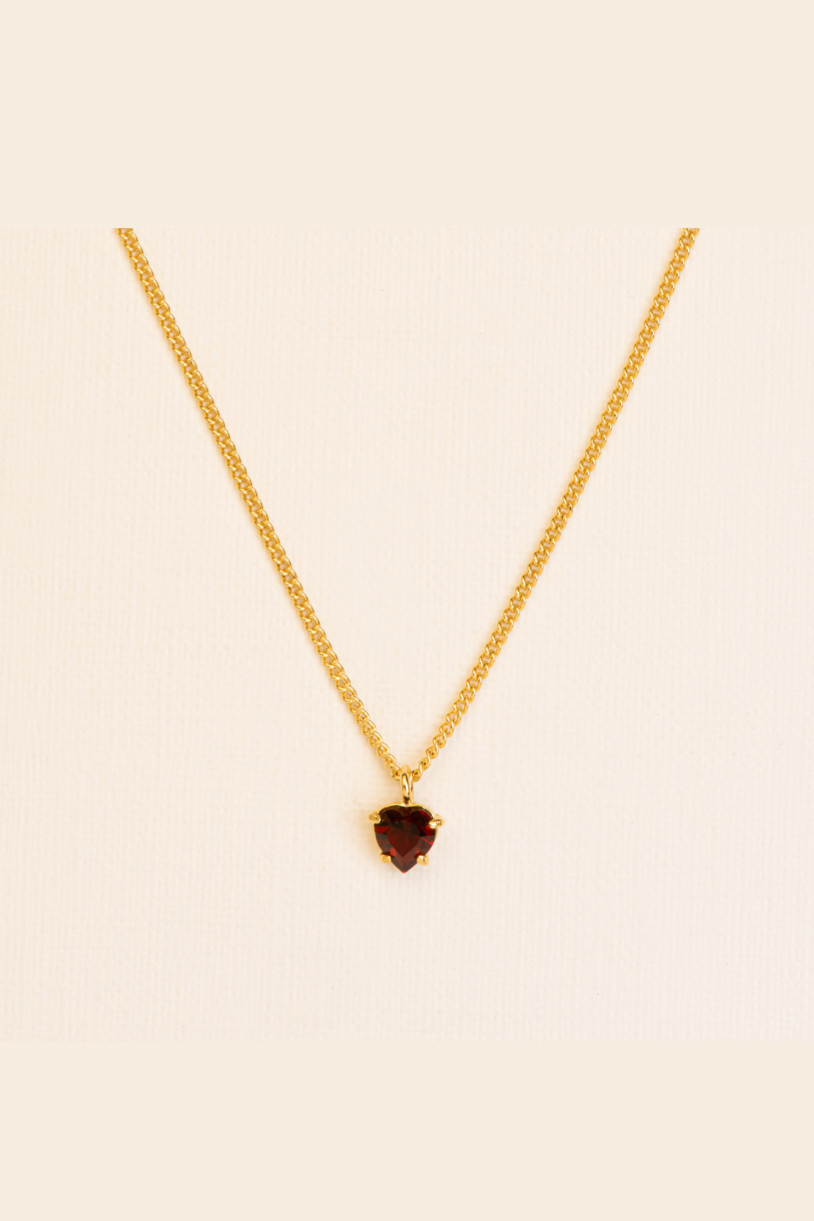 fine necklace with heart cut garnet gold plated silver