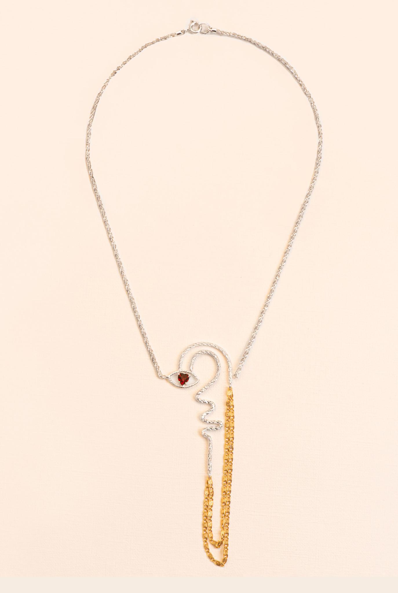 Statement necklace with garnet detail