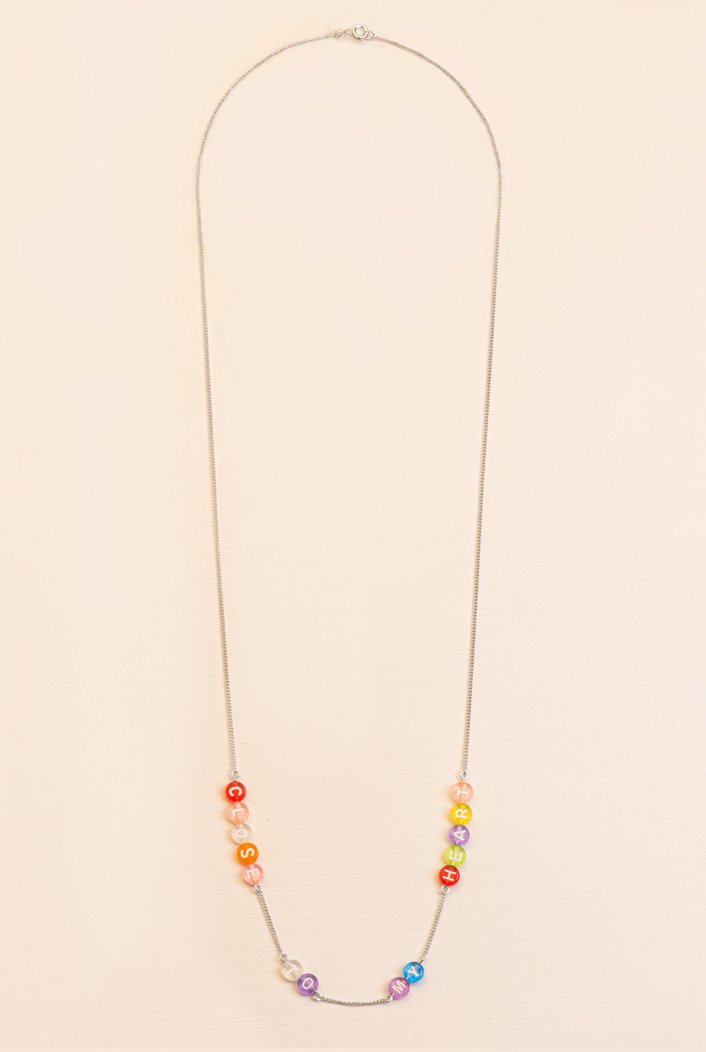 necklace with colorful vintage alphabet beads