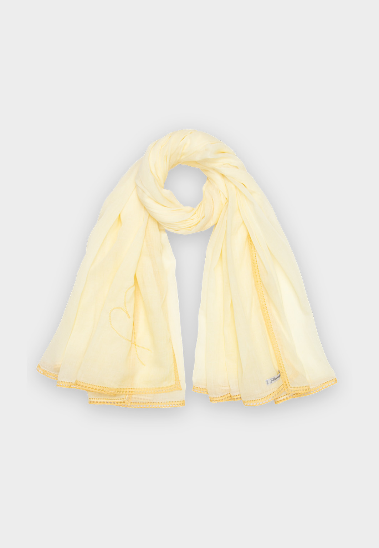 Robertina Scarf Yellow Lace Border