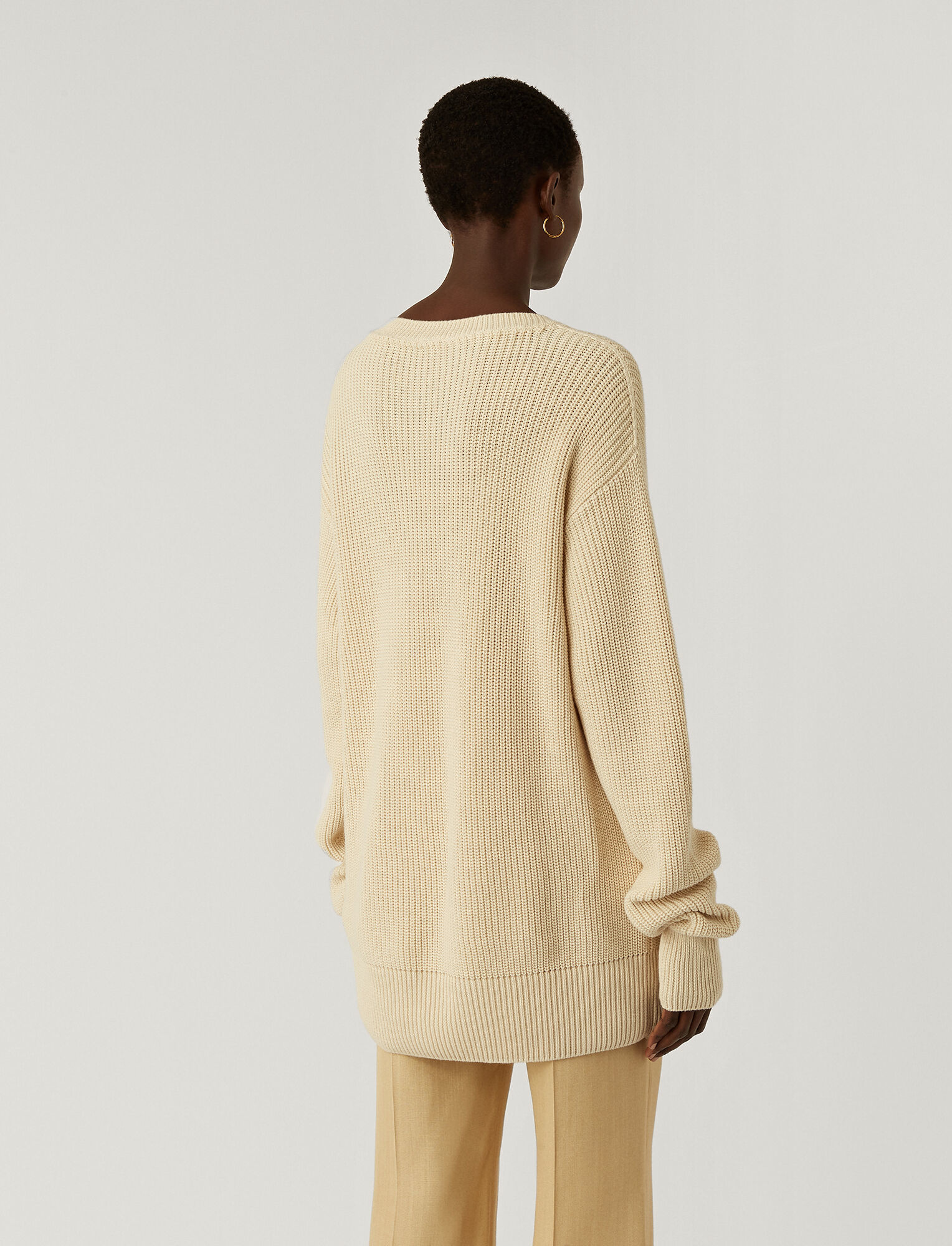 Rd Nk Ls Egyptian Cotton Ivory