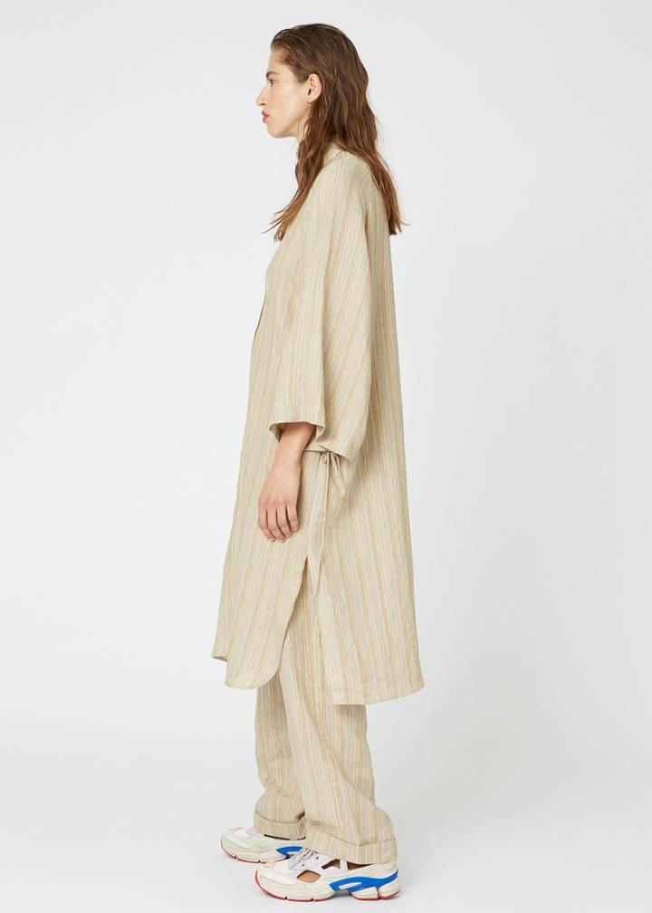 Pinch Dress Beige Stripe