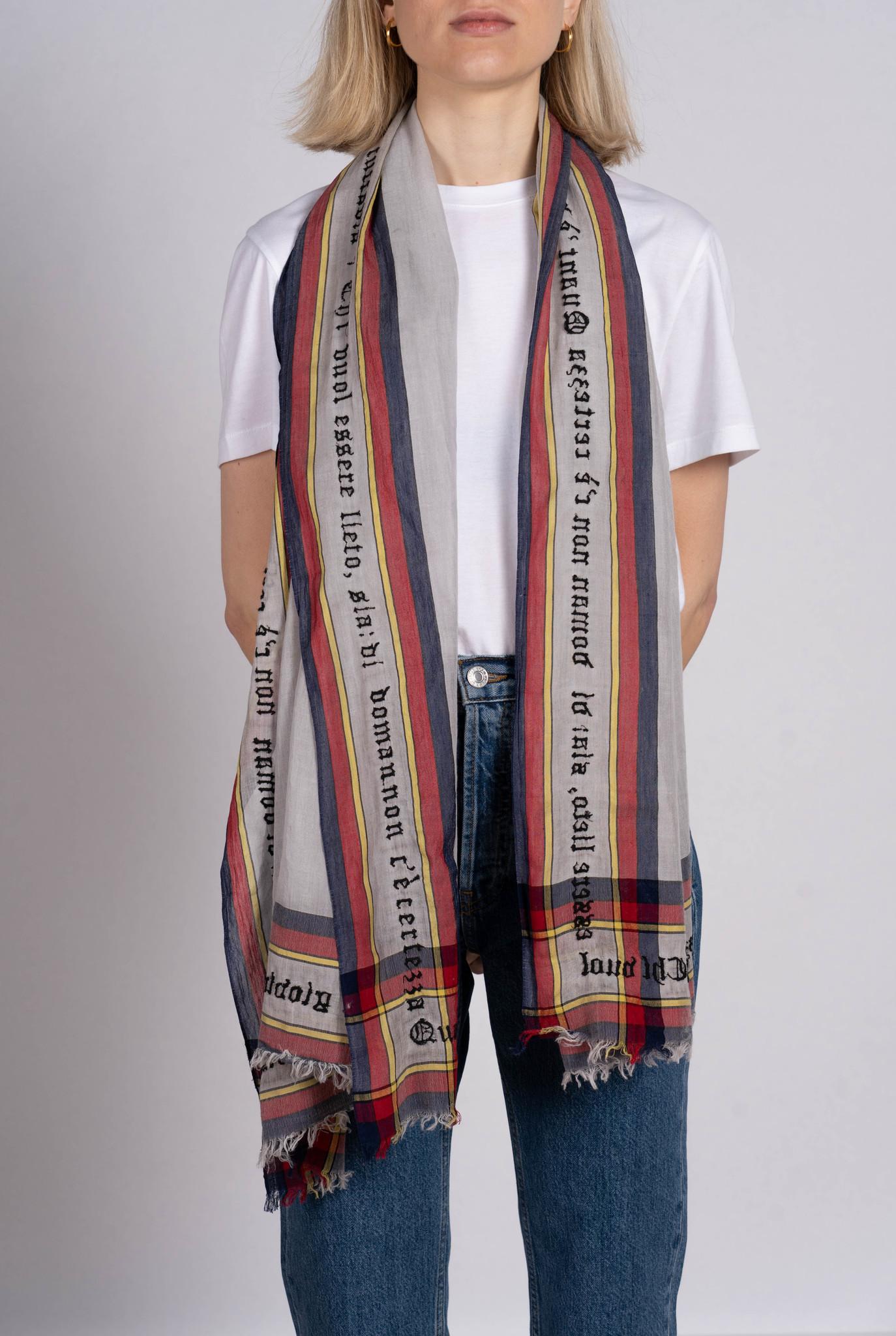 Certezza scarf grey cotton red blue yellow stripe
