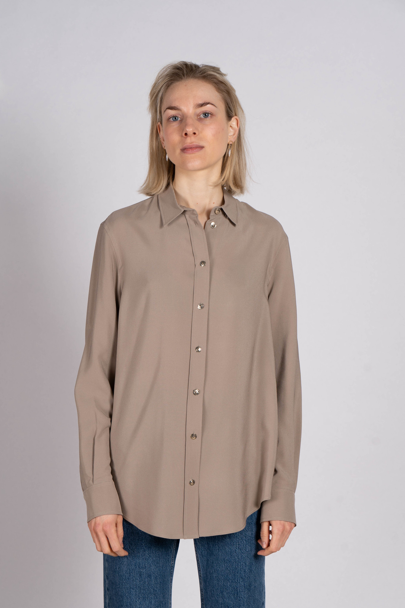 New Garcon silk rib shirt quartz