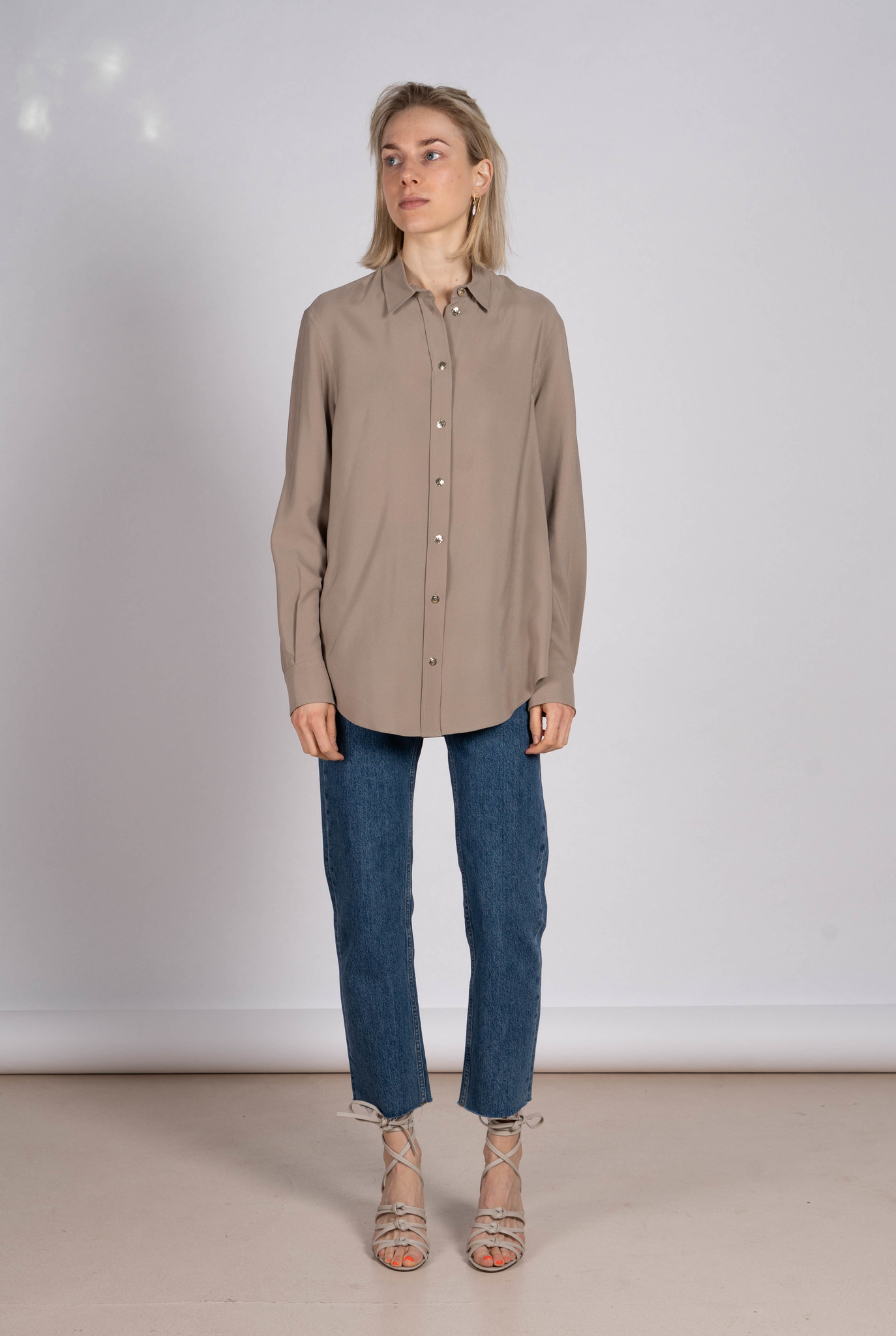 New Garcon silk rib shirt quartz