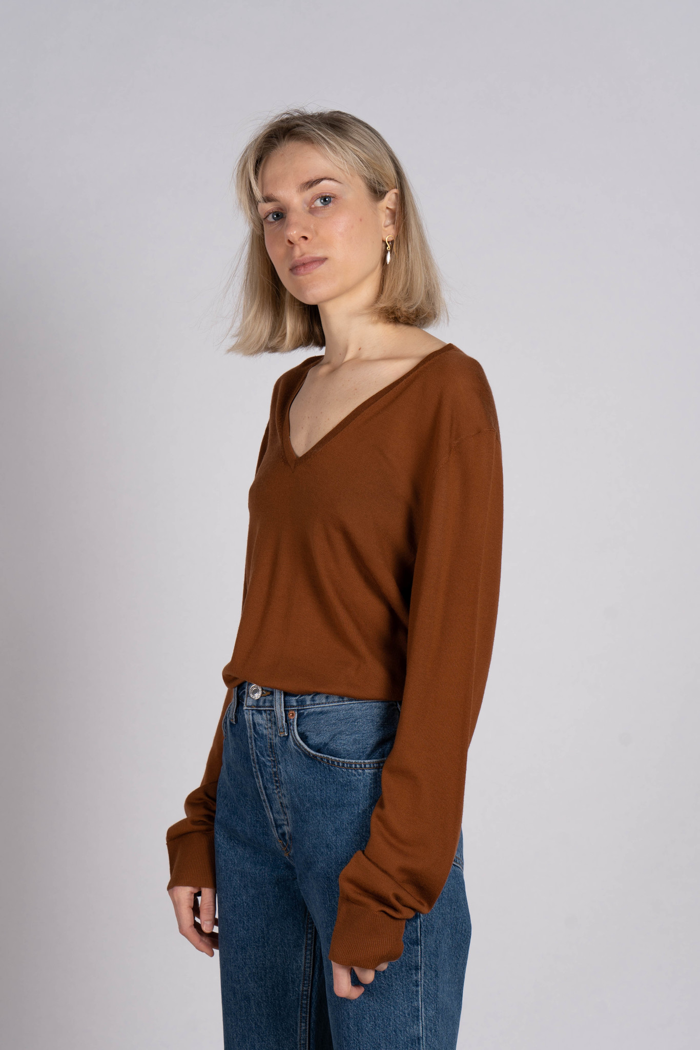 V Nk Ls Fine Sweater Merinos Brick