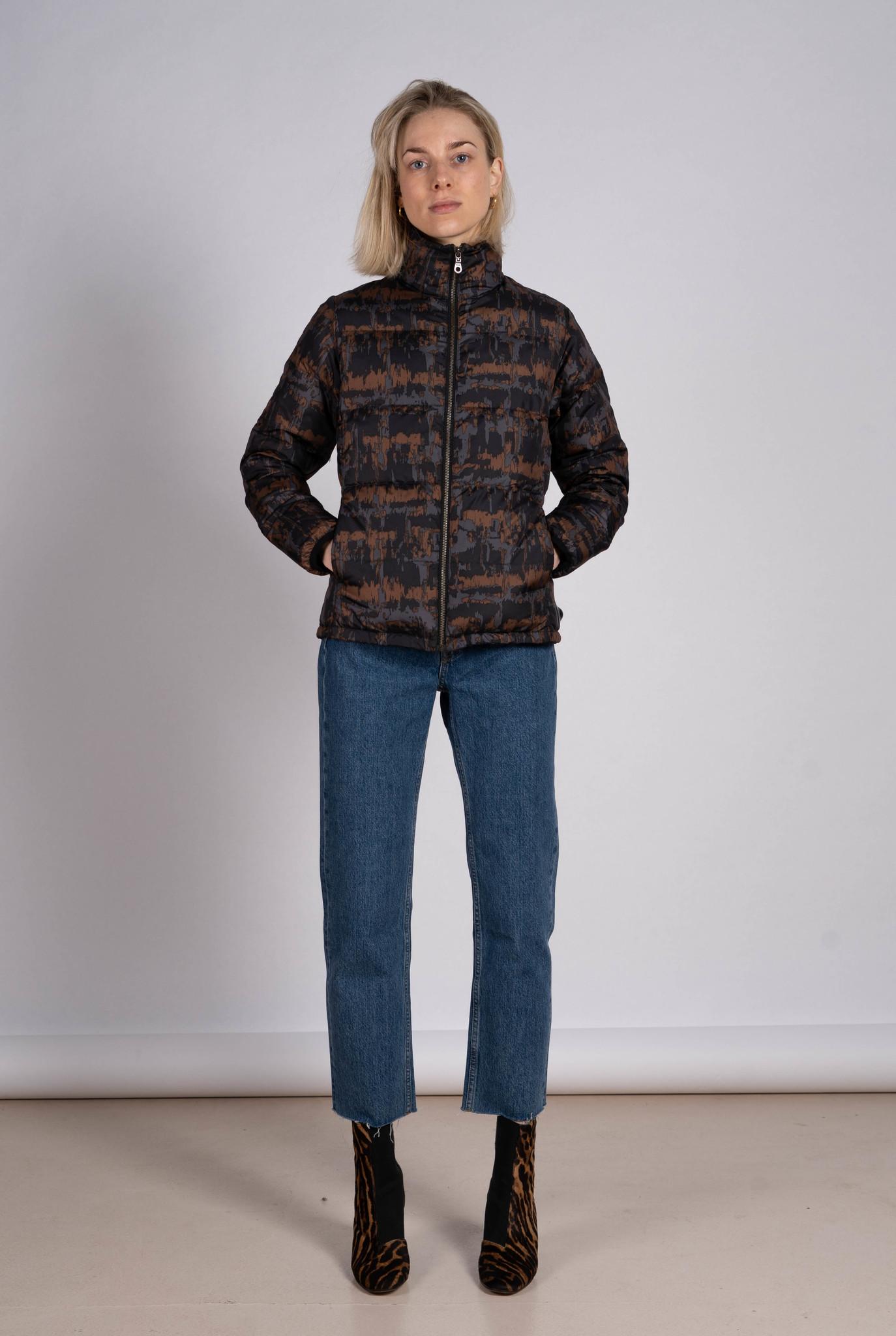 Down jacket brown print