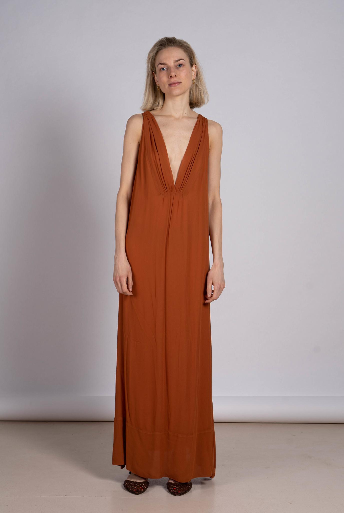 V long dress orange