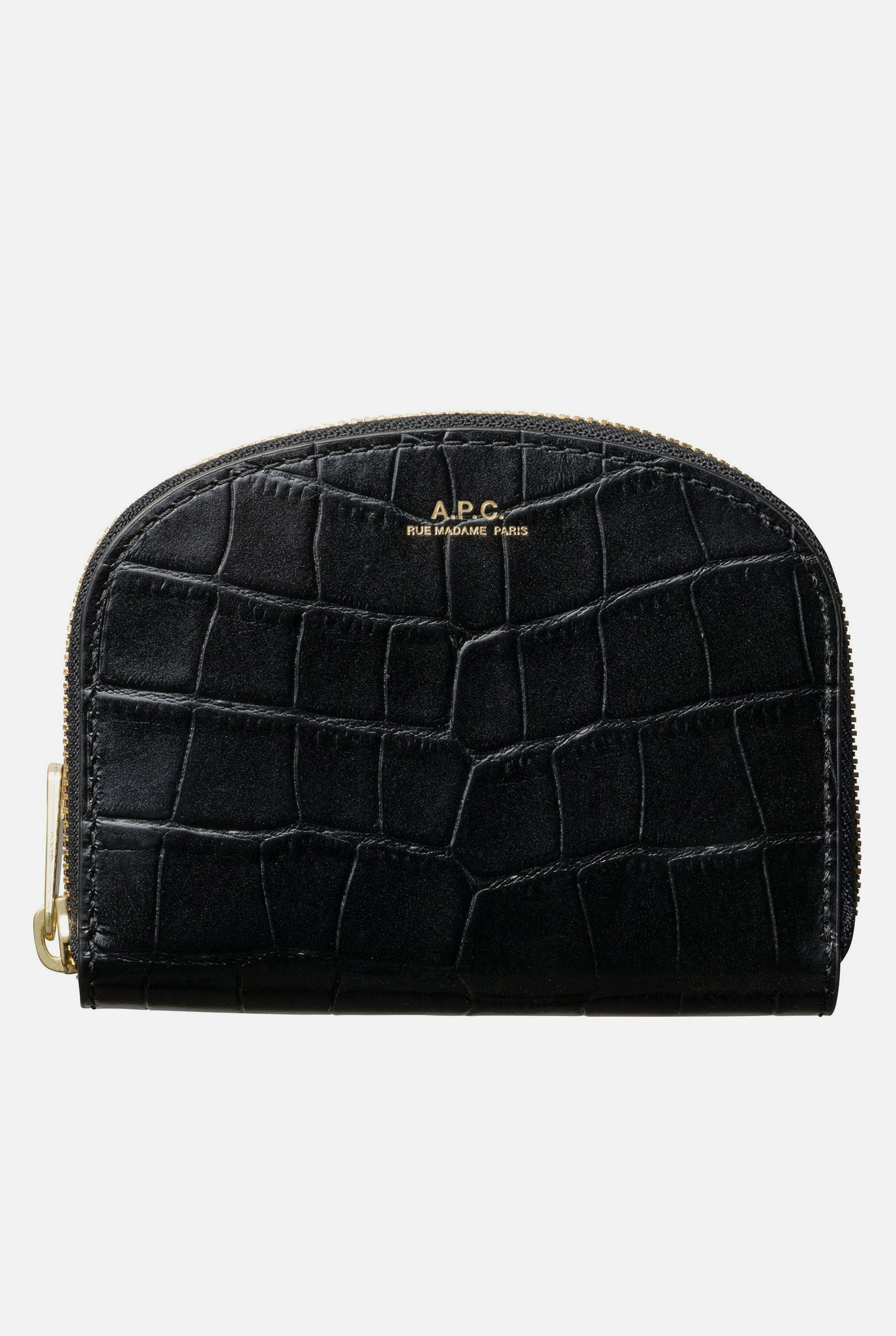 Demi-Lune Compact Wallet Black Crocodile