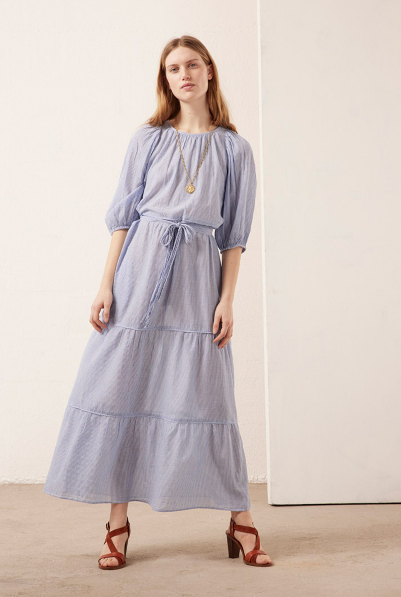 Reinilda Dress Long Blue White Stripes