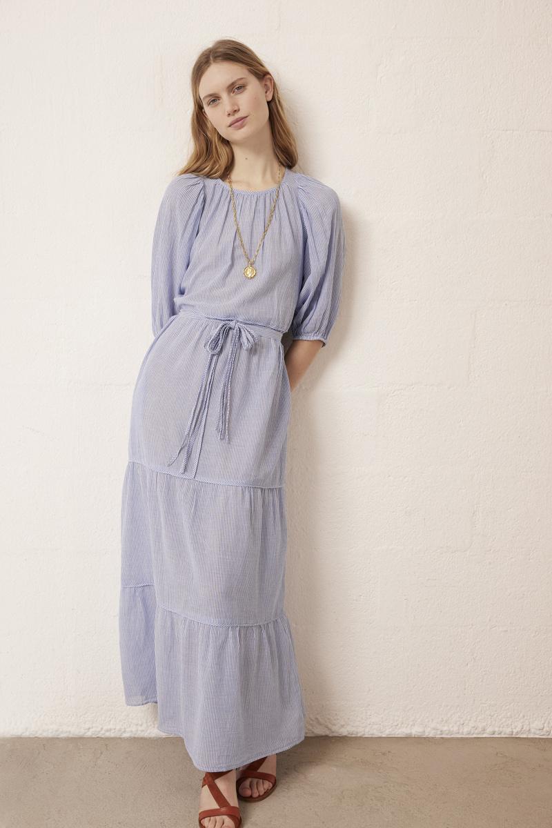 Reinilda Dress Long Blue White Stripes