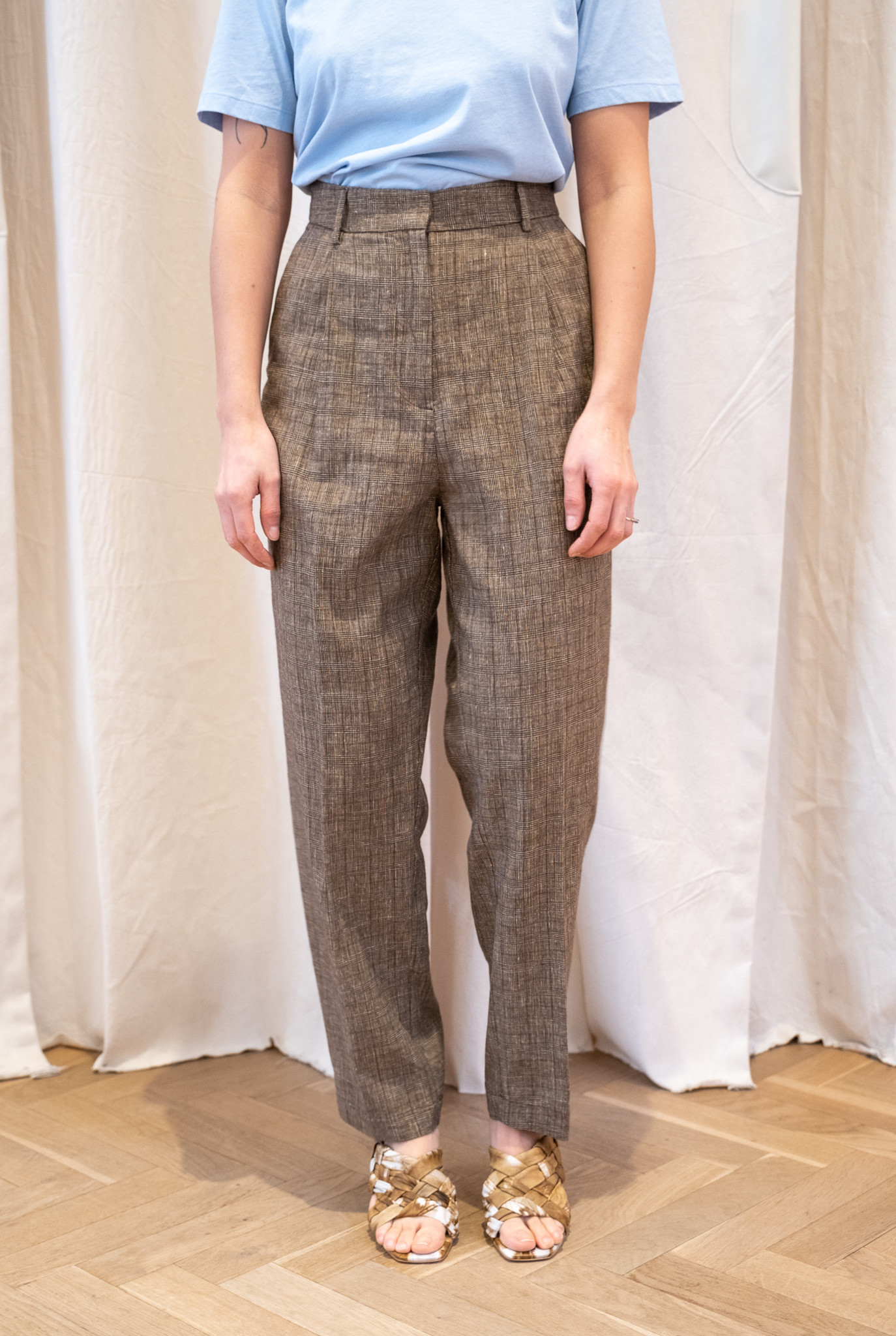 Pleated Trouser Brown Check