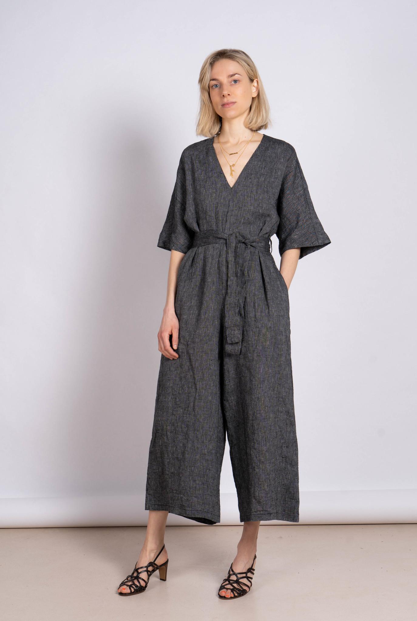 Jumpsuit Linen Grey Stripe