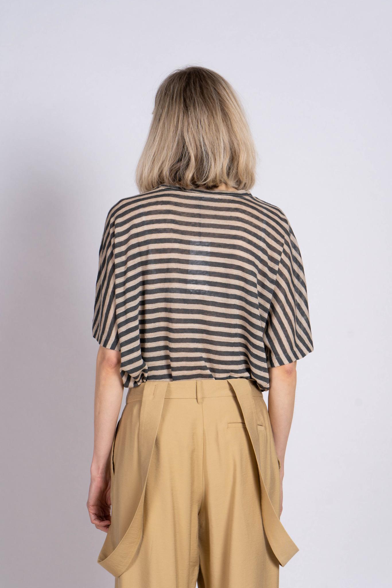 Pocket T-shirt Grey Beige Stripe