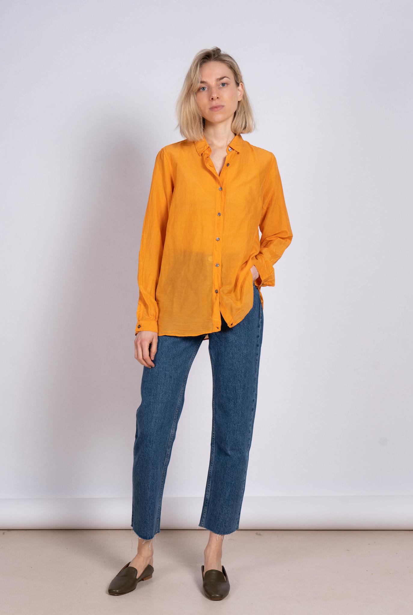 Blouse Side Button Orange Silk