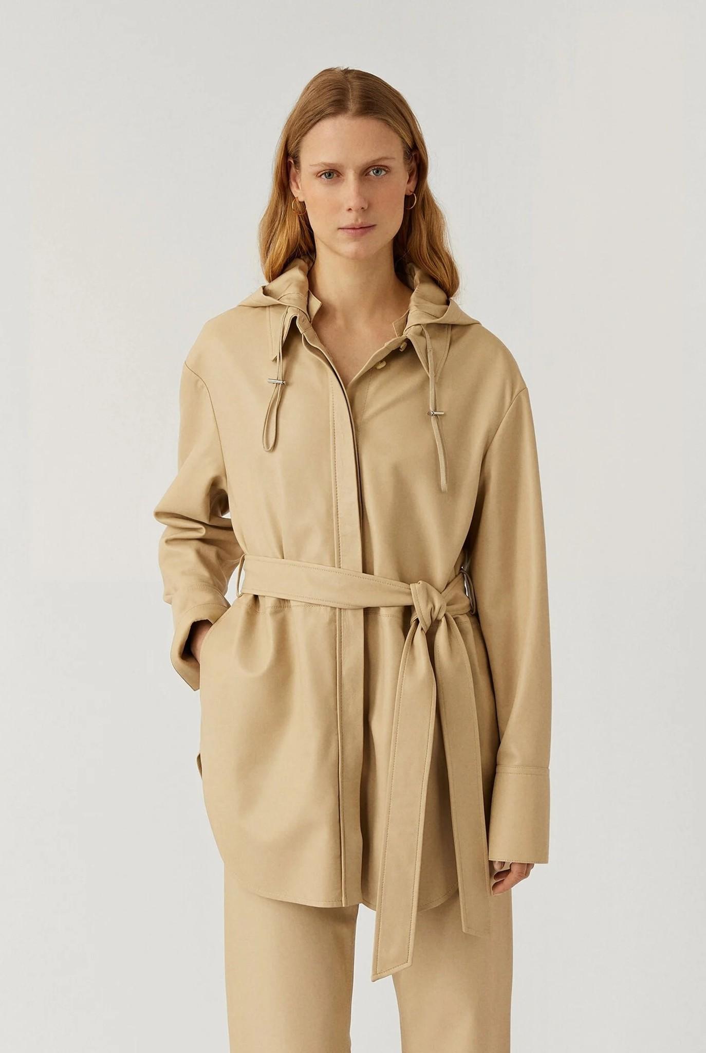 Jala Nappa Leather Jacket Mastic