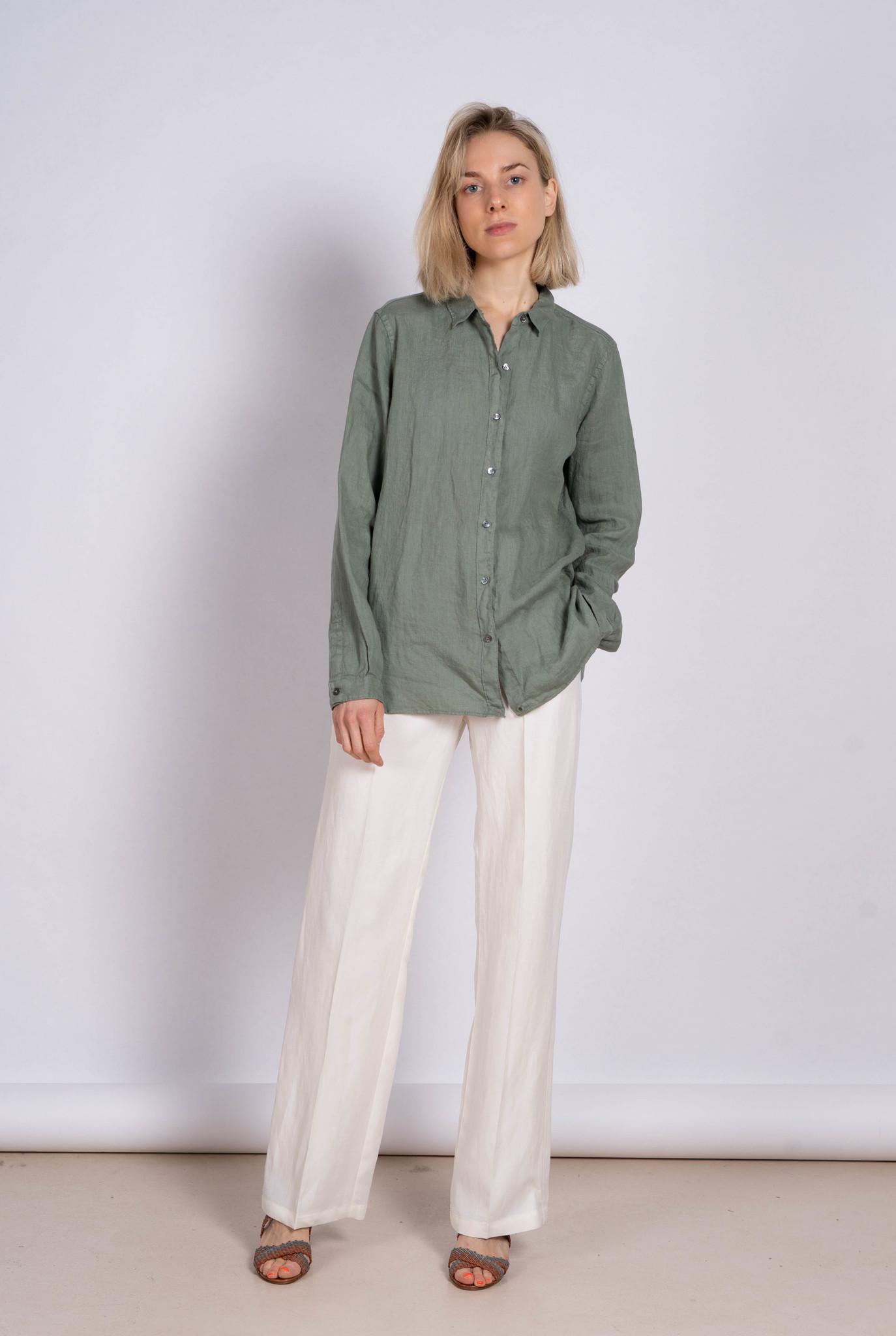 Blouse Side Button Green Linen
