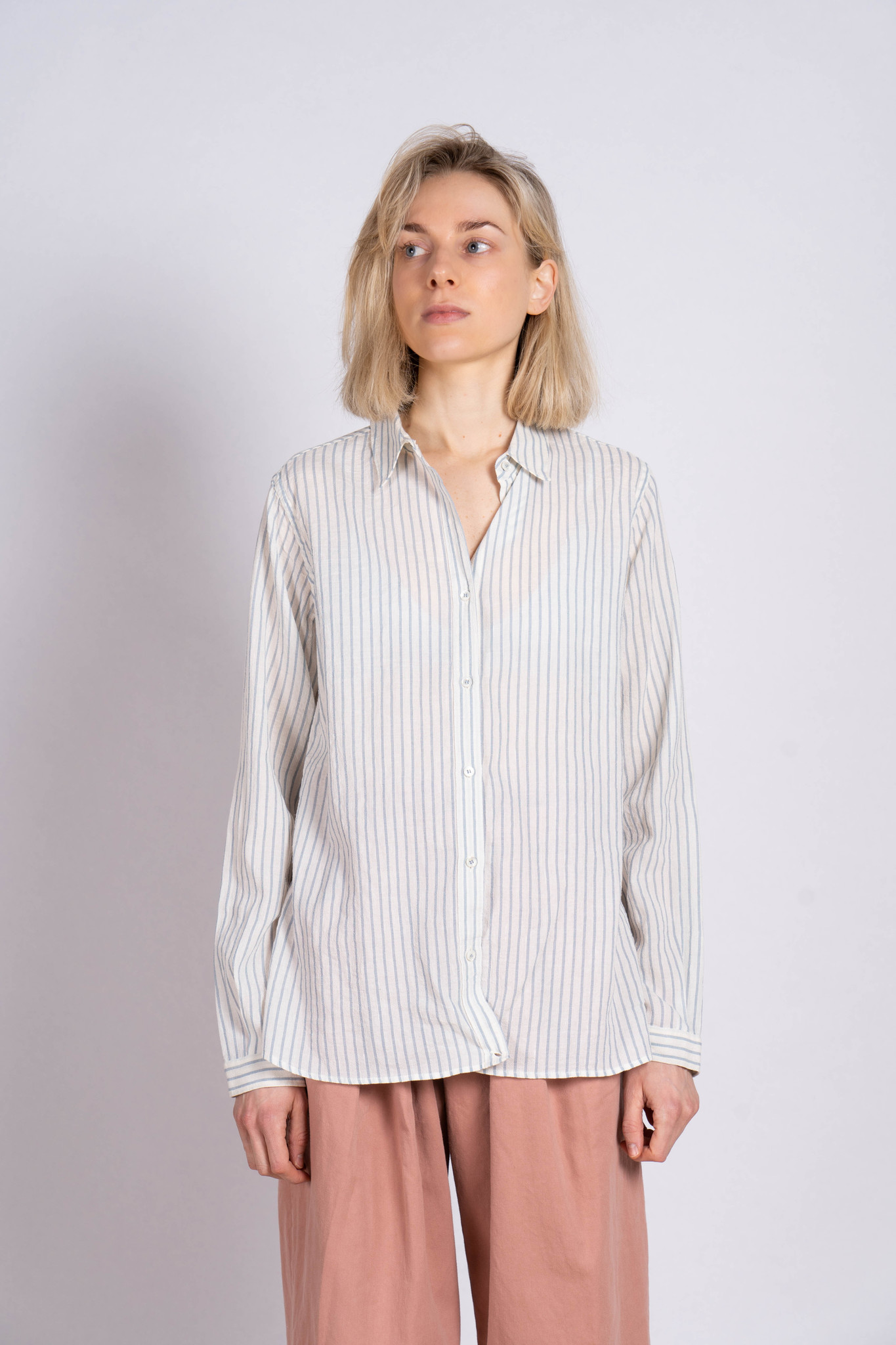 Blouse Side Button Light Blue Stripe