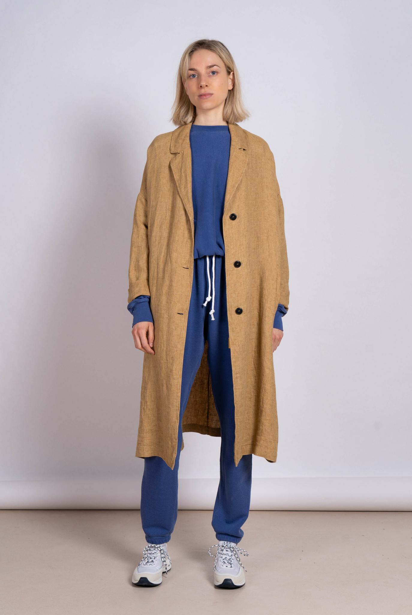 Long Coat Linen Hay