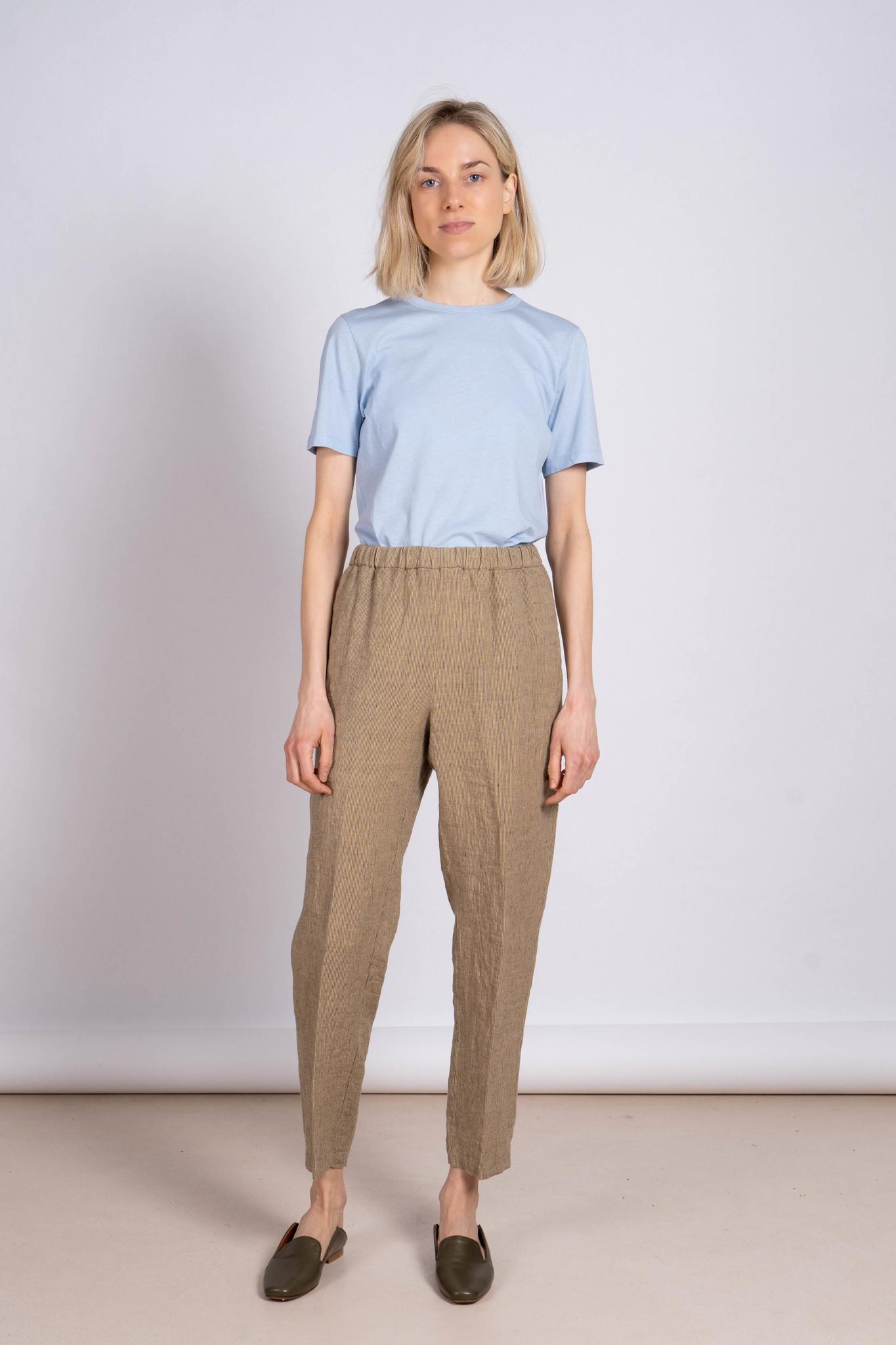 Elastic Pantalon Linen Mustard Stripe