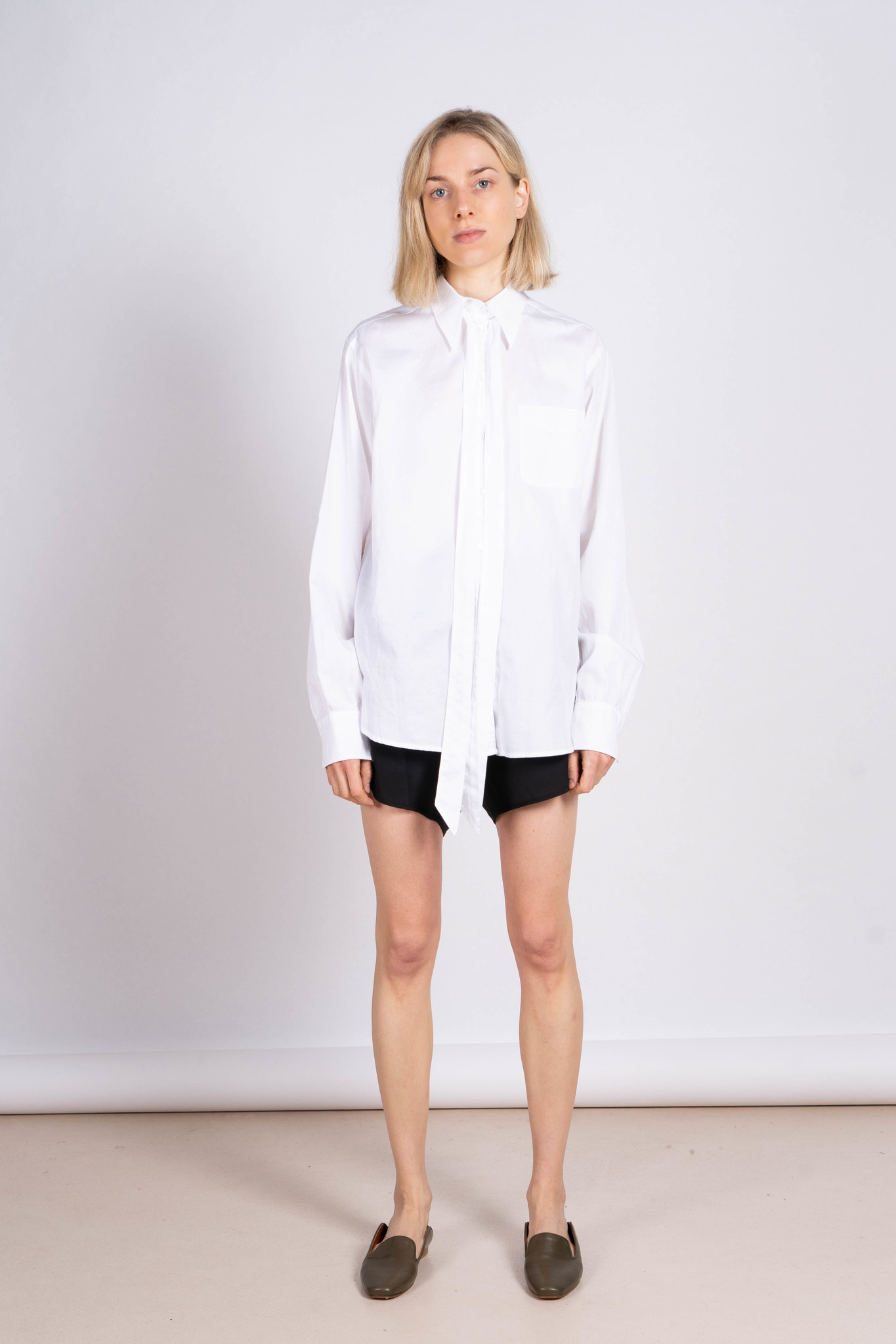 Blouse White Pleated Back