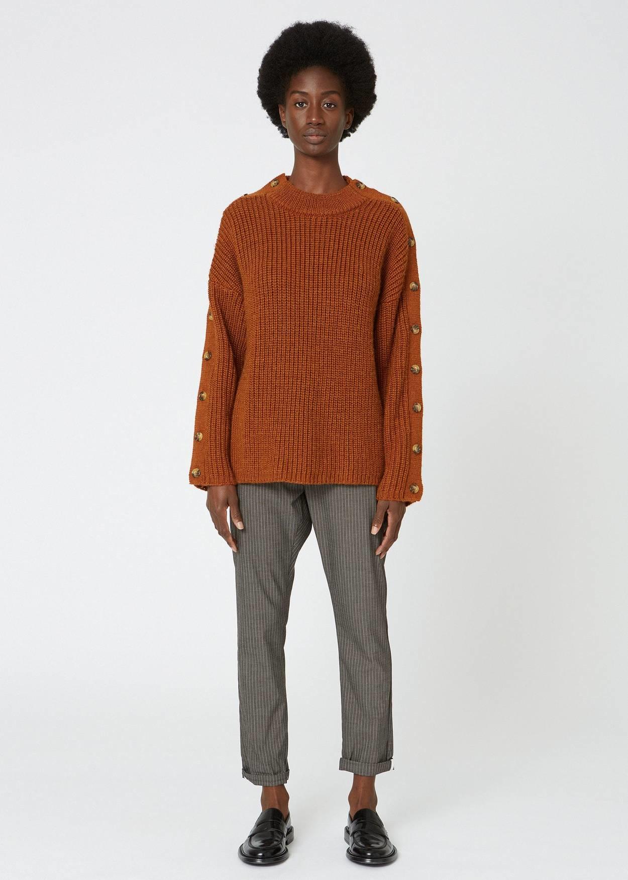 News Edit trousers khaki brown stripe
