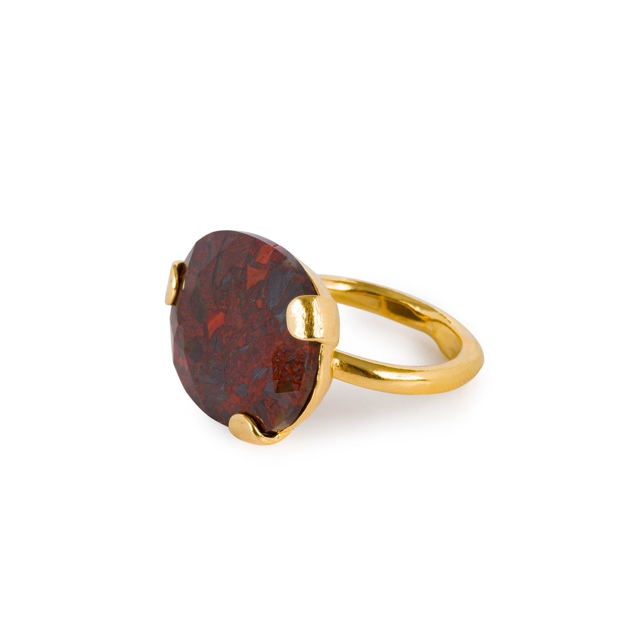Statement red moss agate ring gold plated