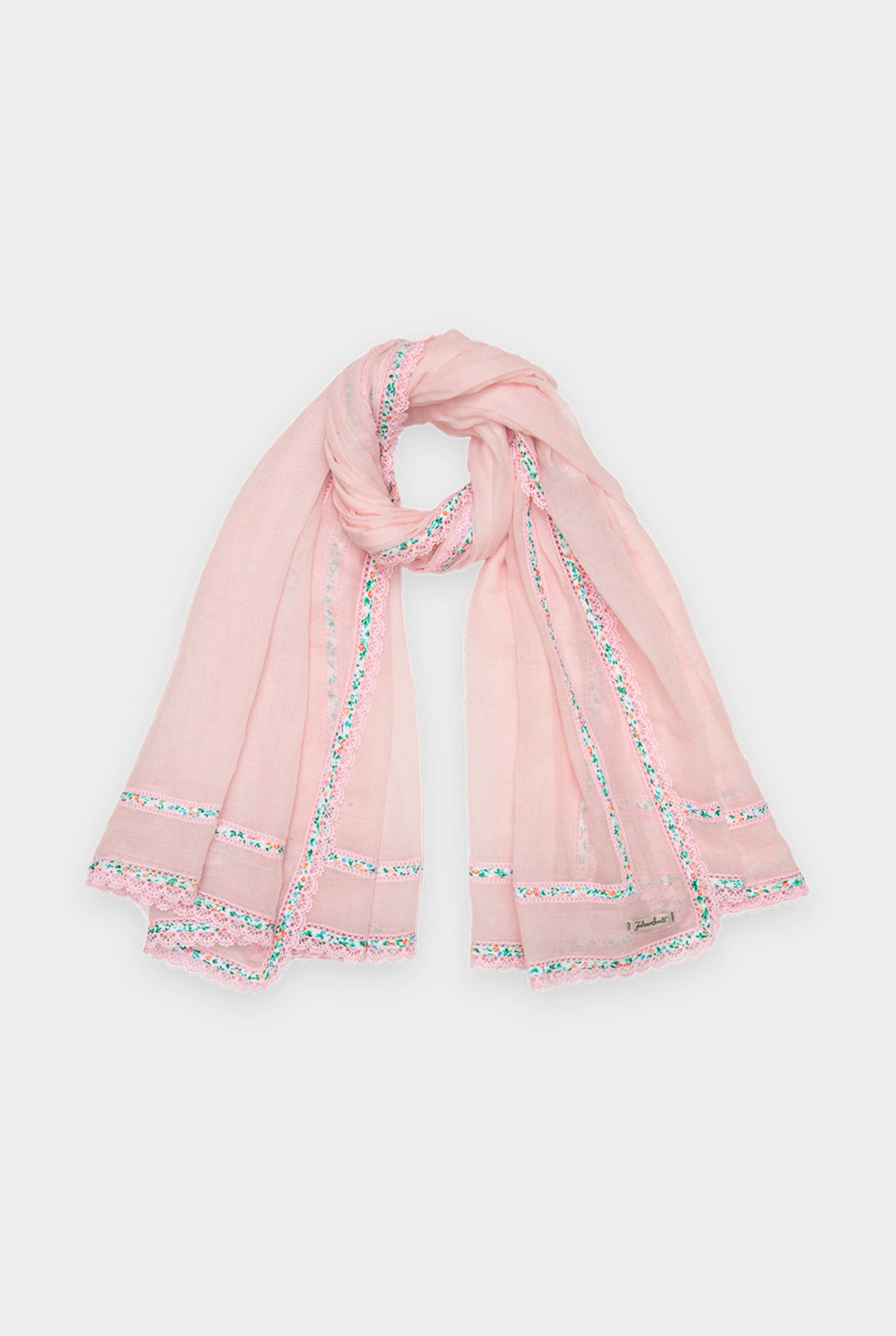 Kory scarf pink embroidery and flowers