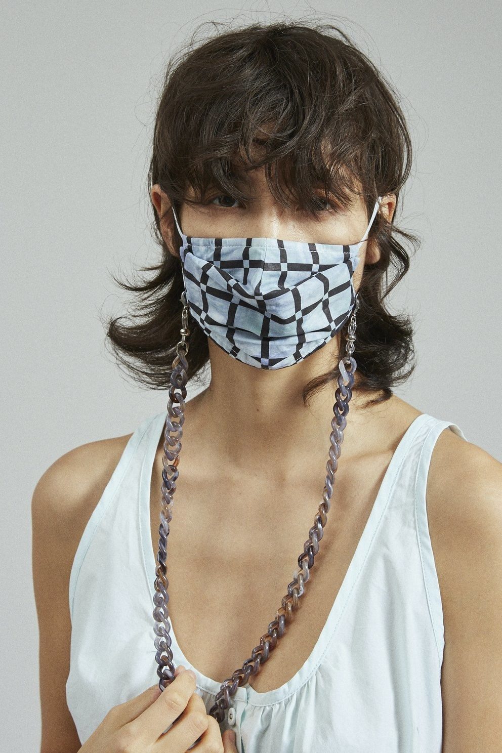 Alice Mask Black Blue Print