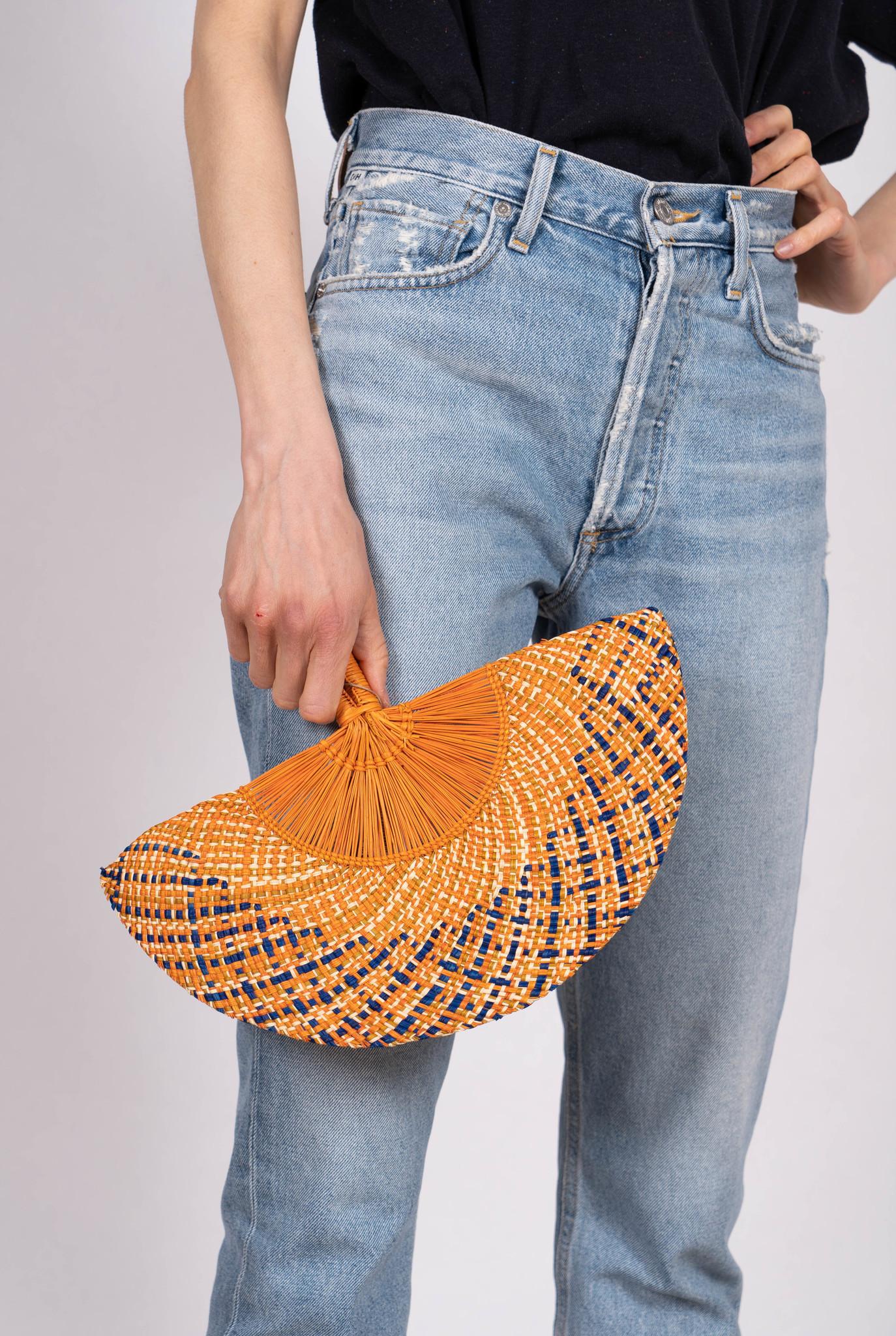 Handwoven Fan Blue Orange