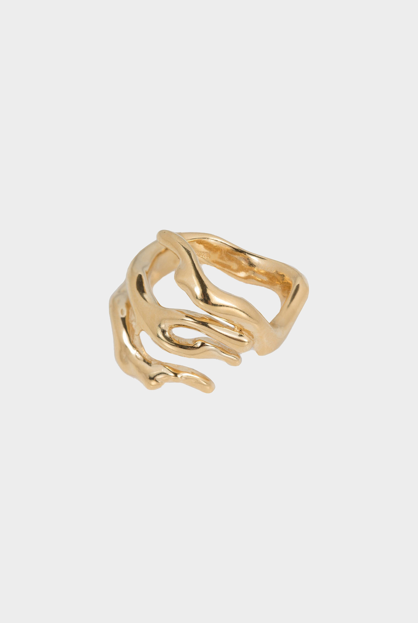 Organic shaped statement ring Goldplated