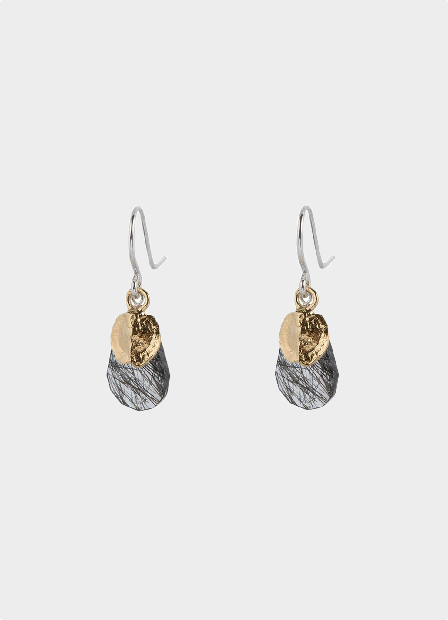Subtle Hook Earrings with Tourmaline Quartz  silver gold plated