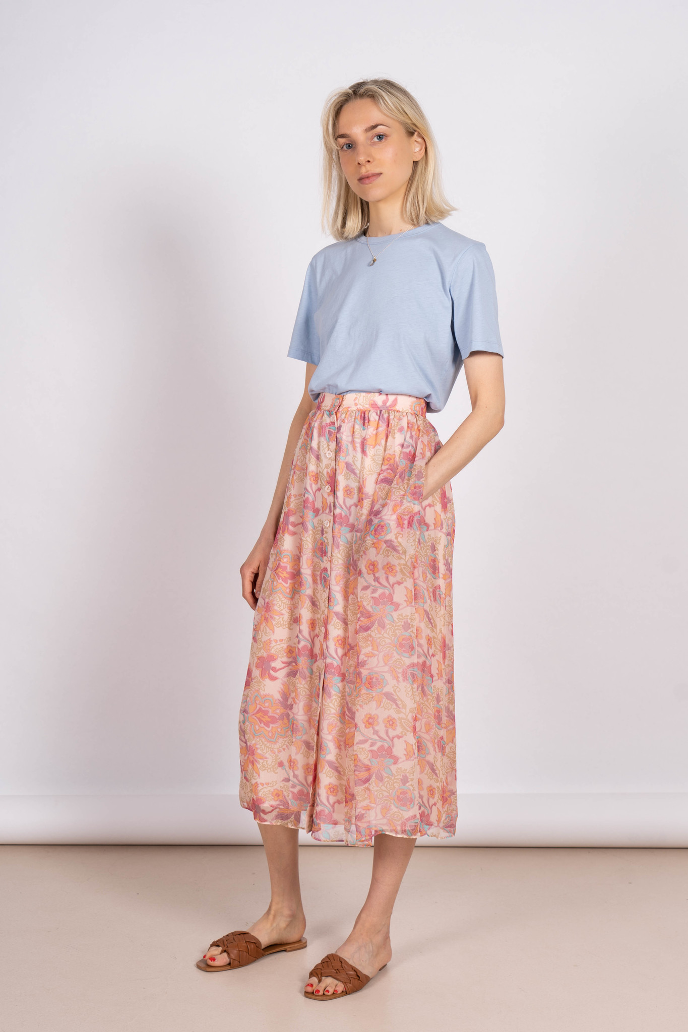 Rahel Skirt Multi Color 70's Flowers