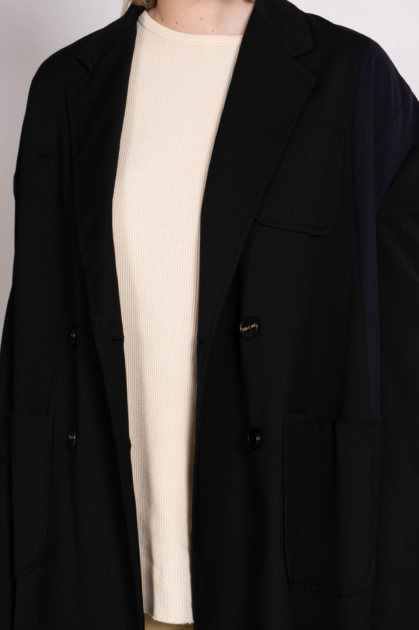 Double Breasted Long Coat Black Dk Navy