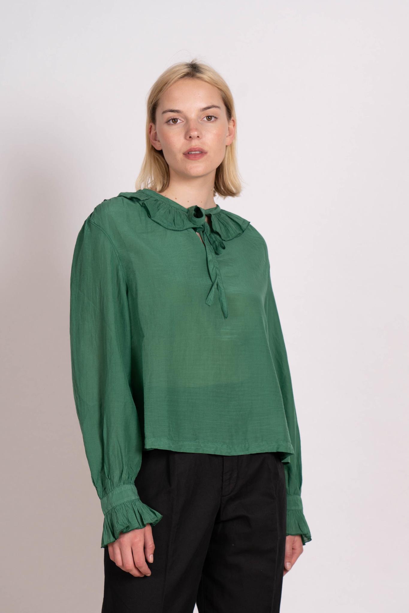 Ruffle Collar Blouse Green
