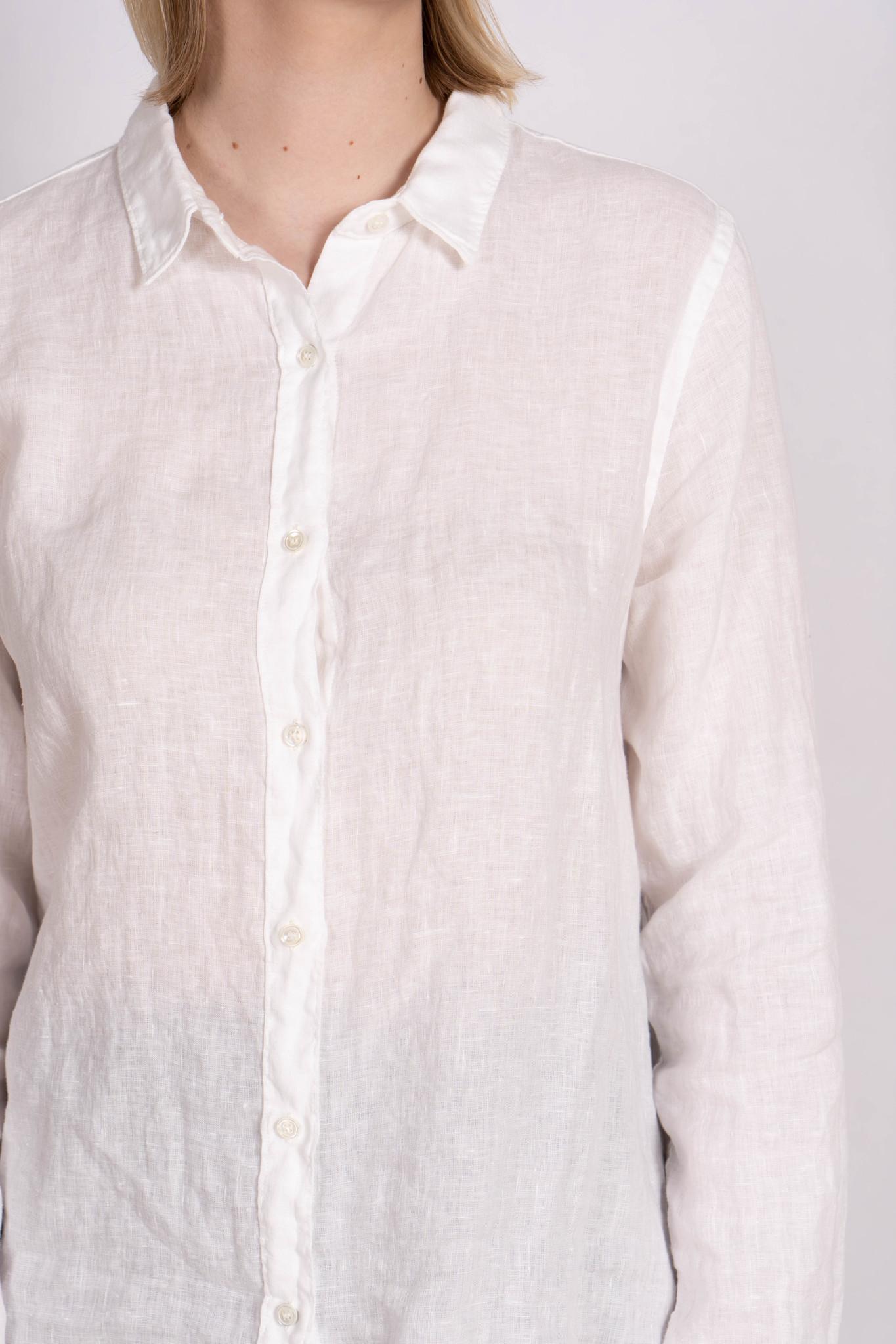 Blouse Side Button White Linen