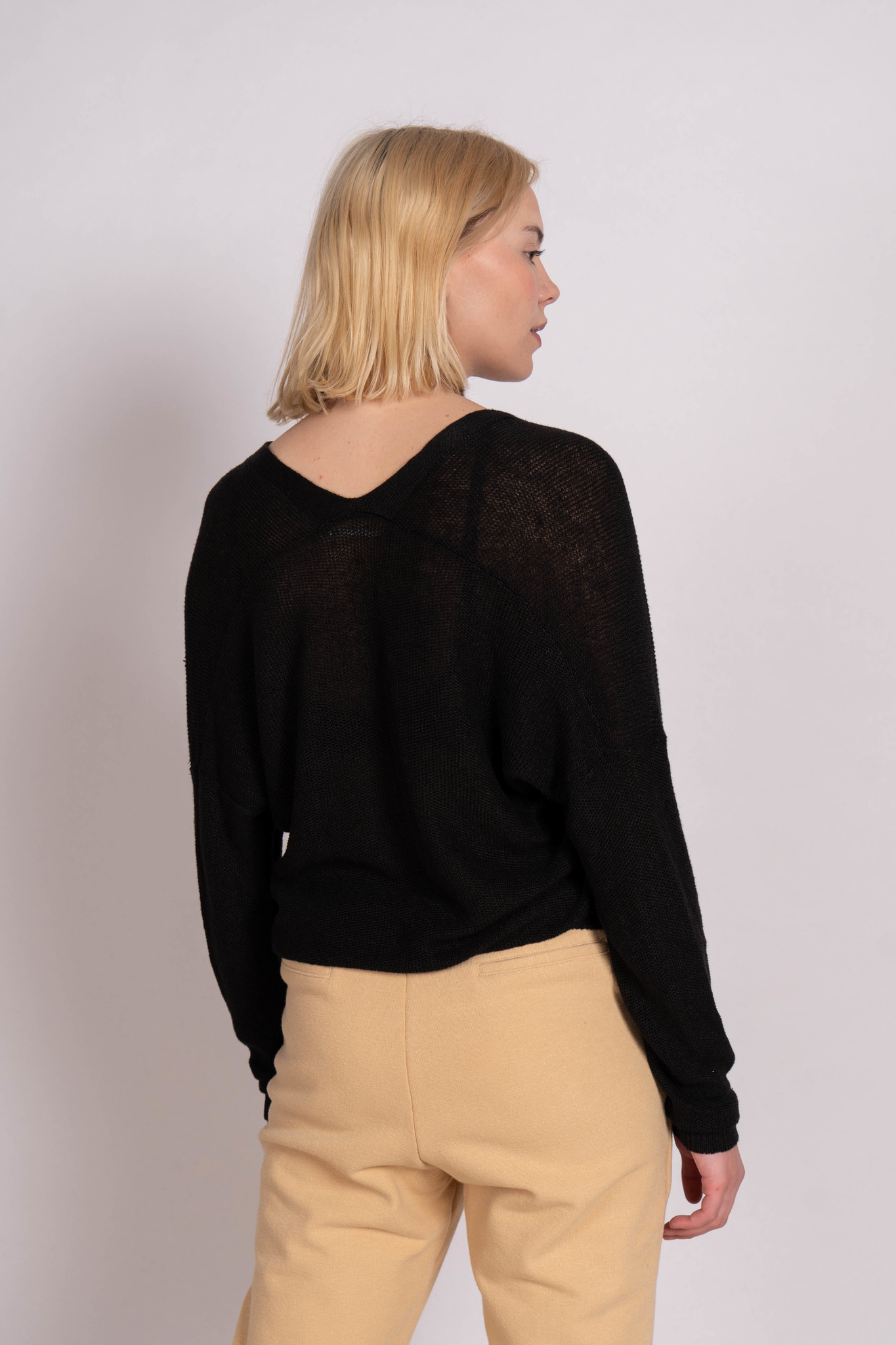 Knitted One Button Cardigan Black