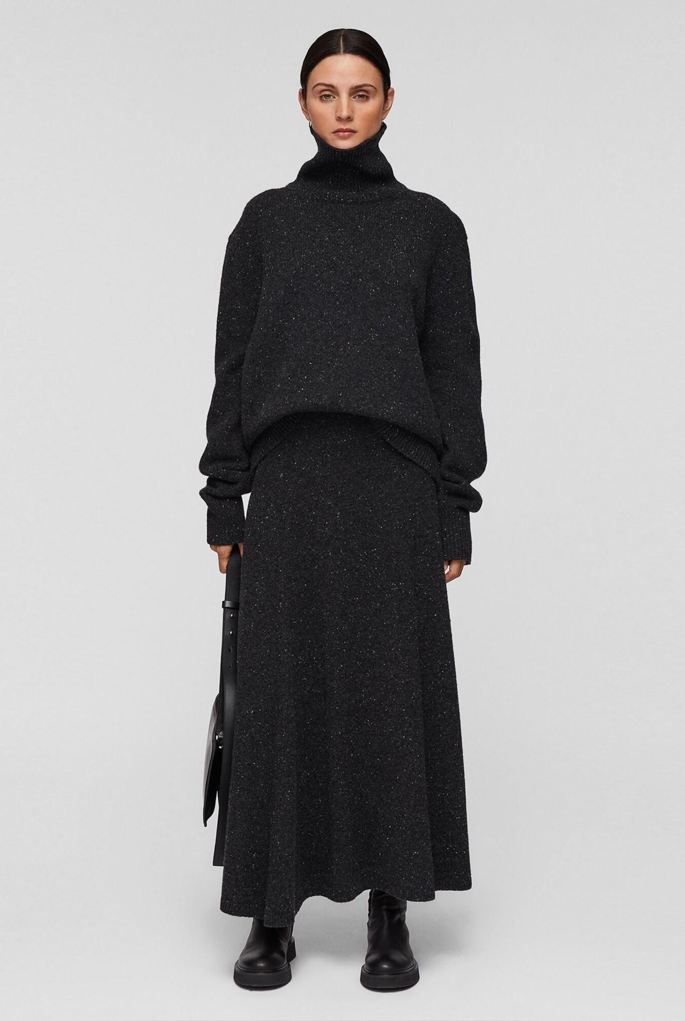 Skirt tweed knit grey melee