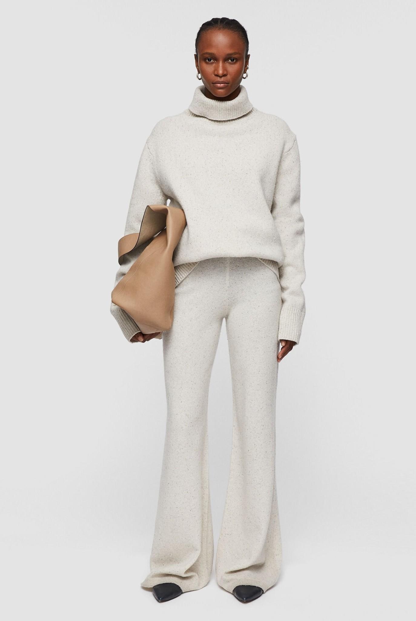Trouser tweed knit ecru melee