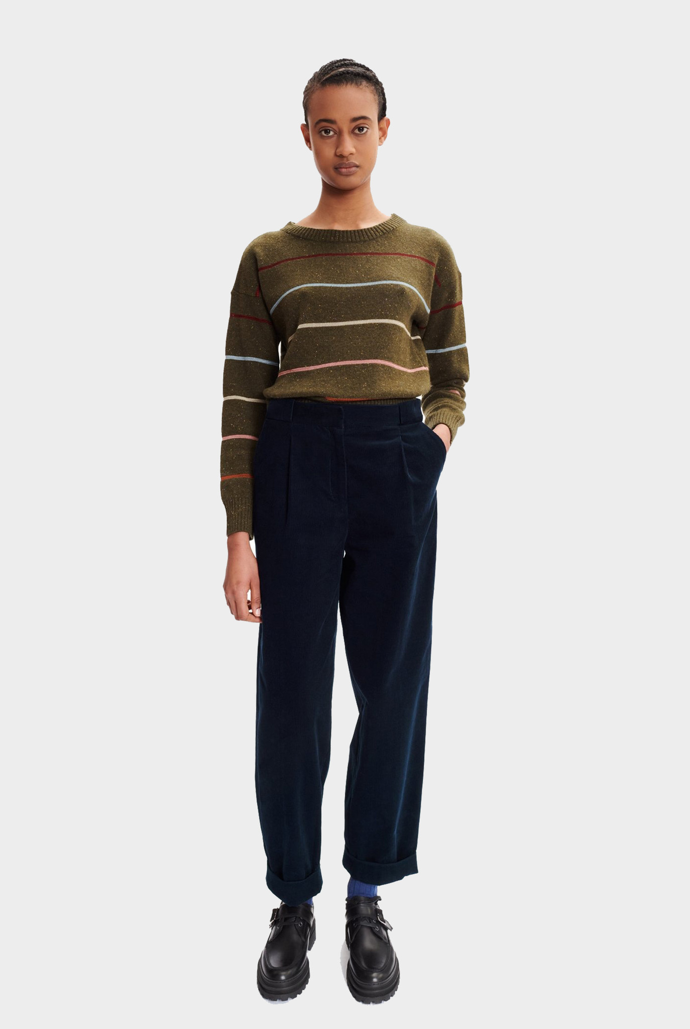 Sophie sweater khaki green / stripes