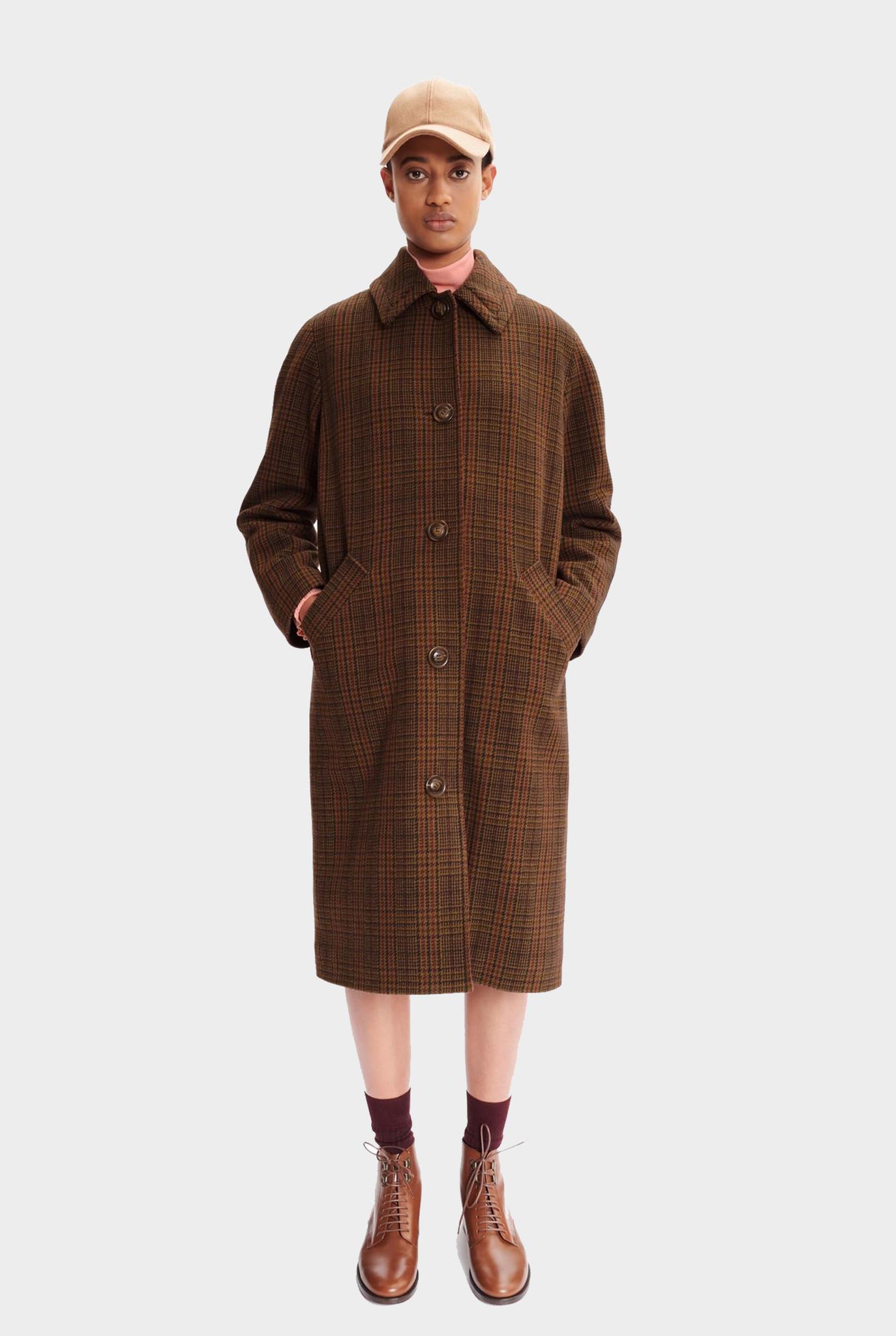 Coat Rivka Camel black/bordeaux check