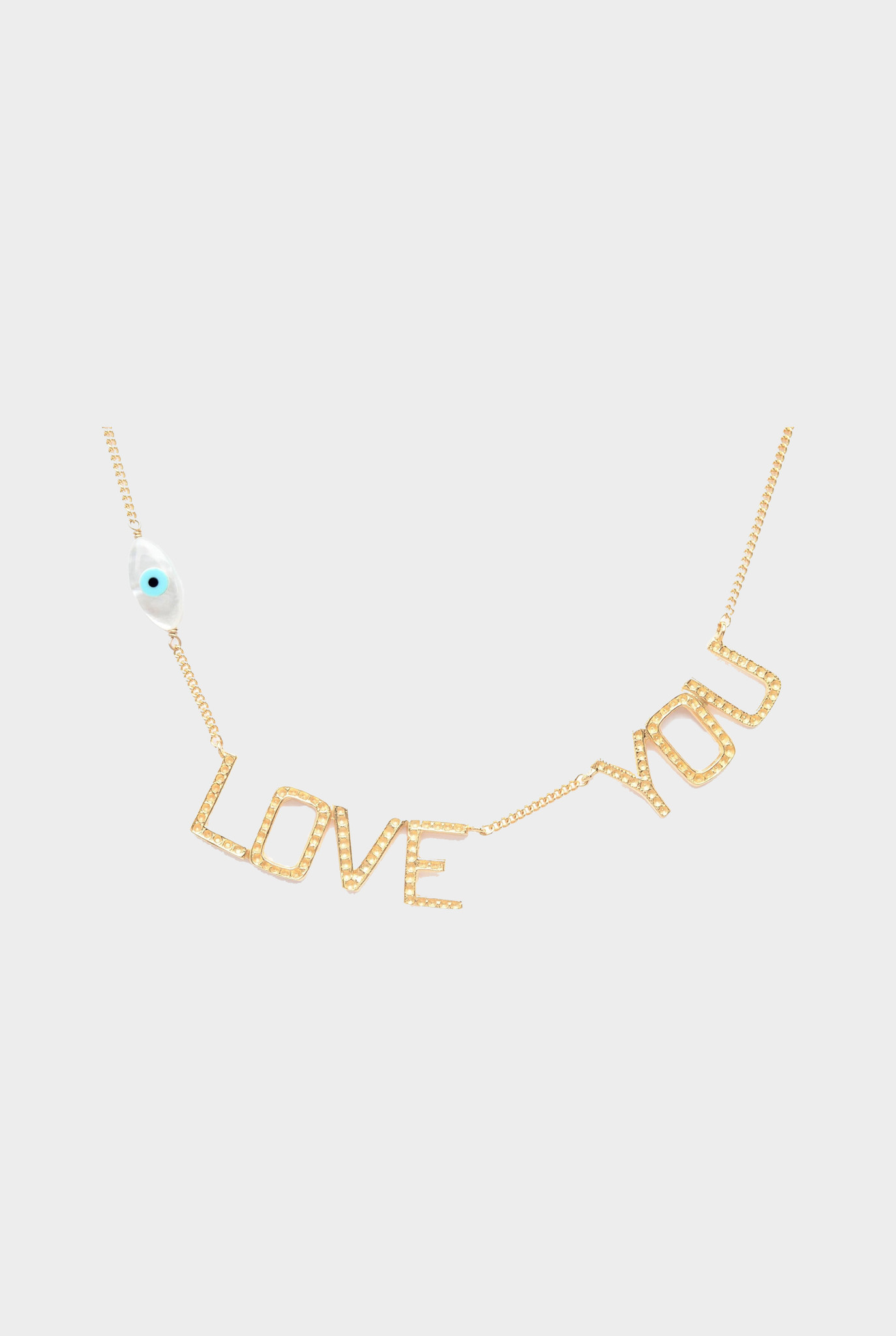 Eye Love You necklace with mother of pearl gold plated