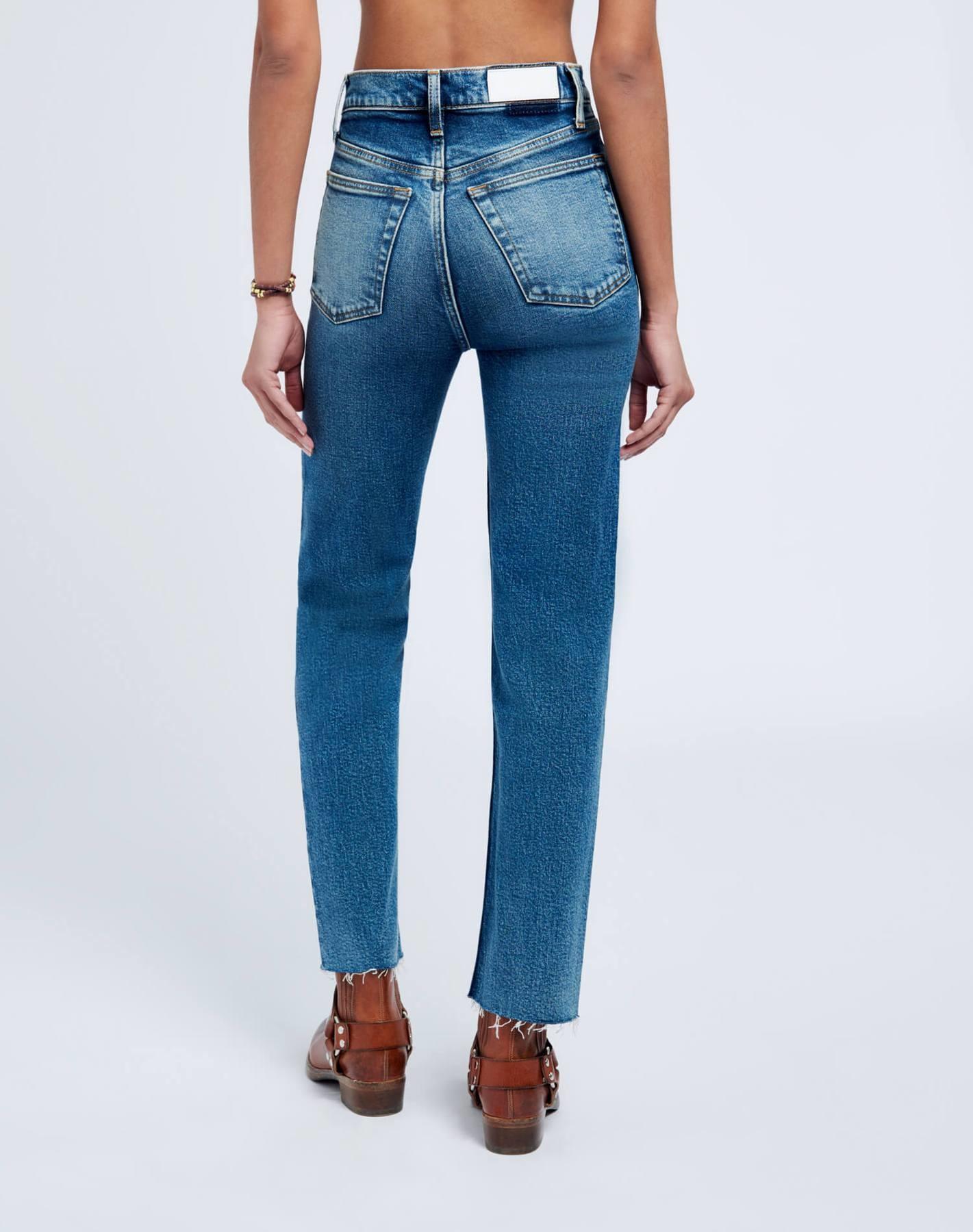 Ultra High Rise Stove Pipe Jeans Broken In Dark