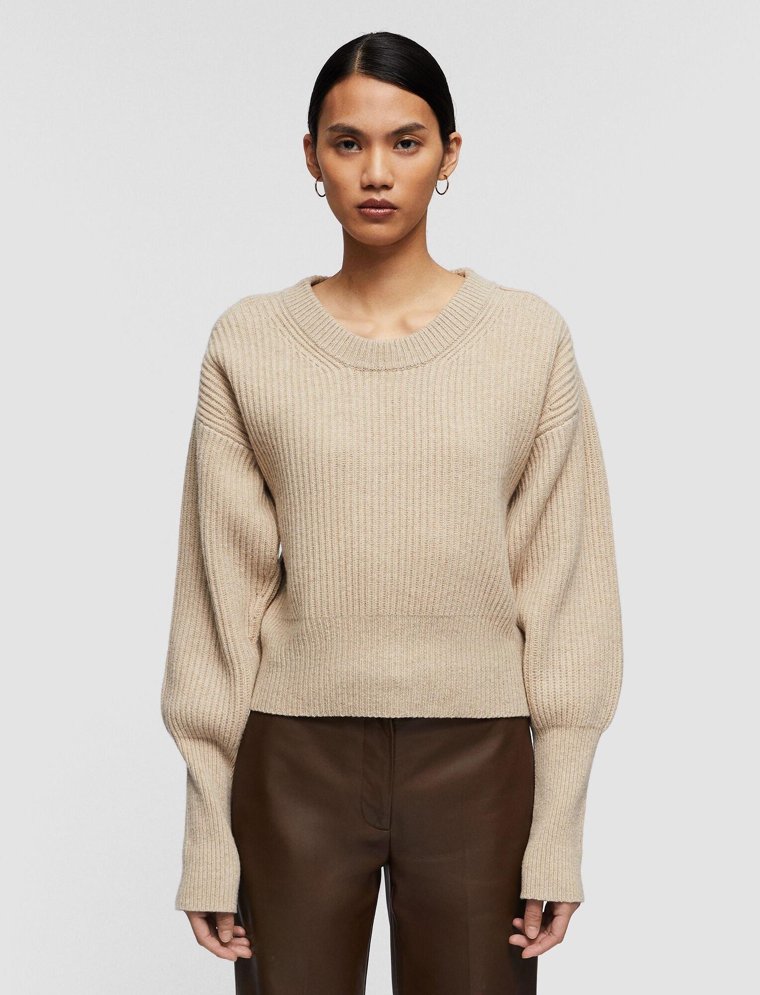 Round Neck Sweater Cardigan Stitch Sandshell