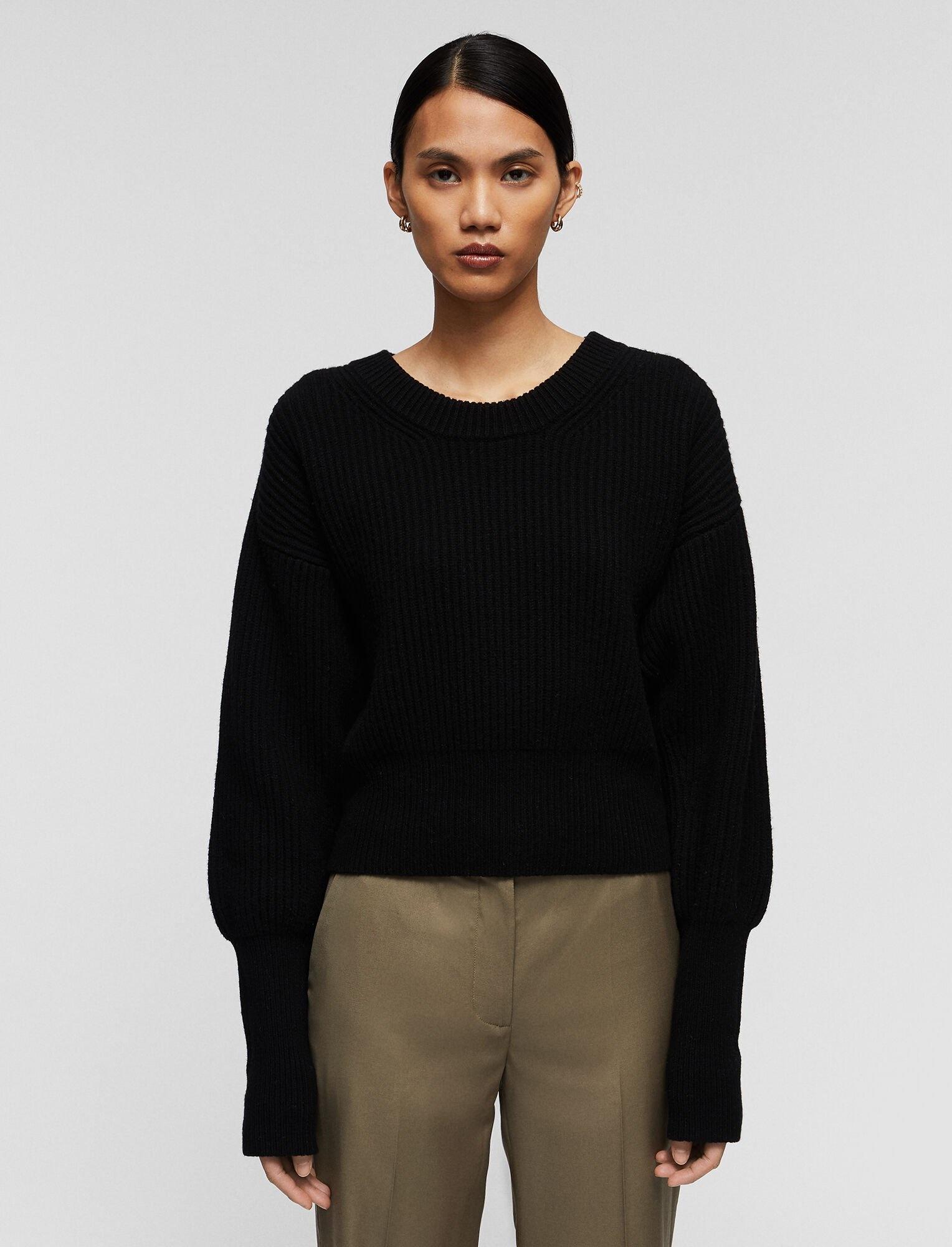 Round Neck Sweater Cardigan Stitch Black