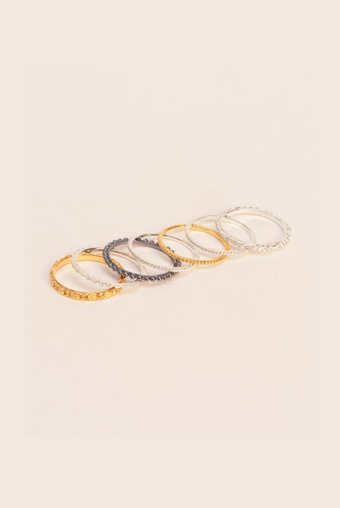 The 'Chapters' rings gold plated and silver mix