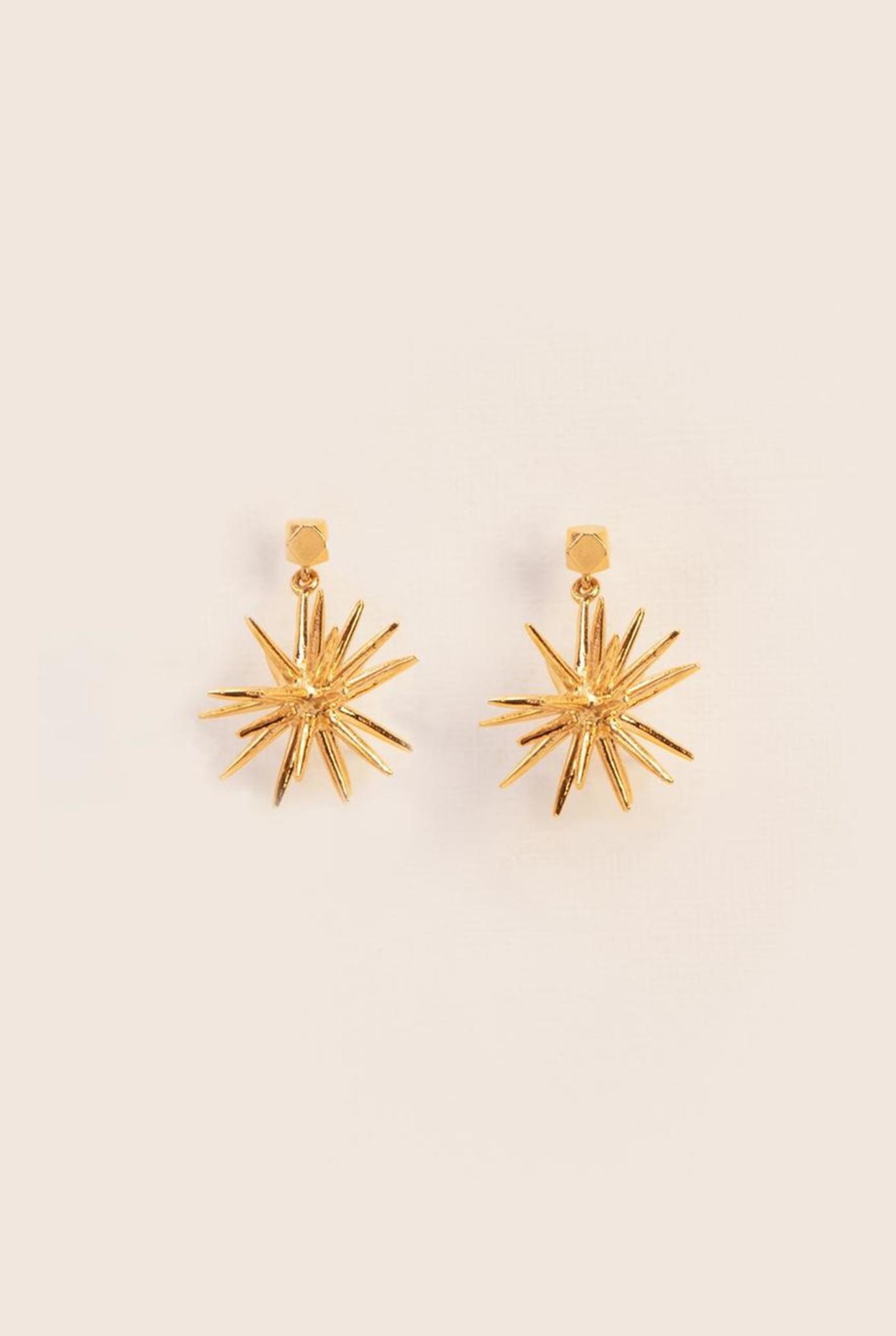 Stud firework earrings gold plated