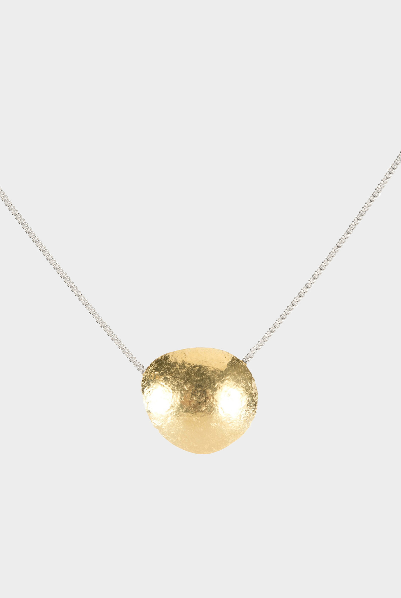 Necklace with hammered element gold plated