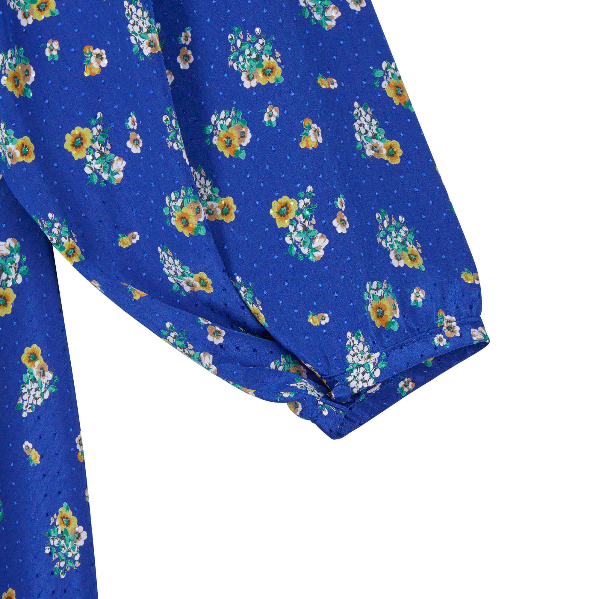 Vintage Floral Ruffle Dress Blue